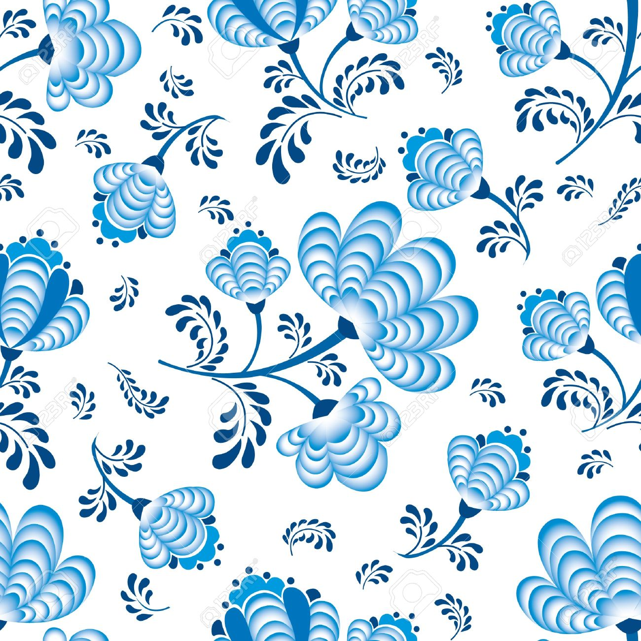 Abstract Floral Seamless Pattern Blue Flowers On White Background In Russian Style Gzhel Stock Vector