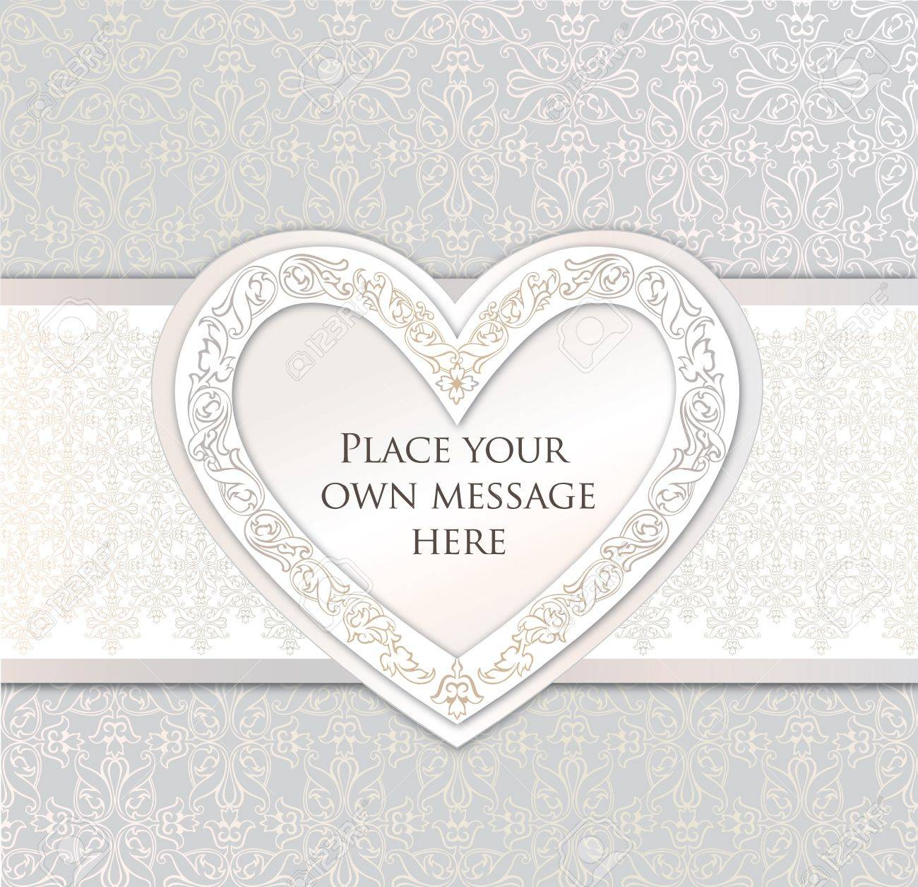 greeting card with heart in victorian style wedding invitation