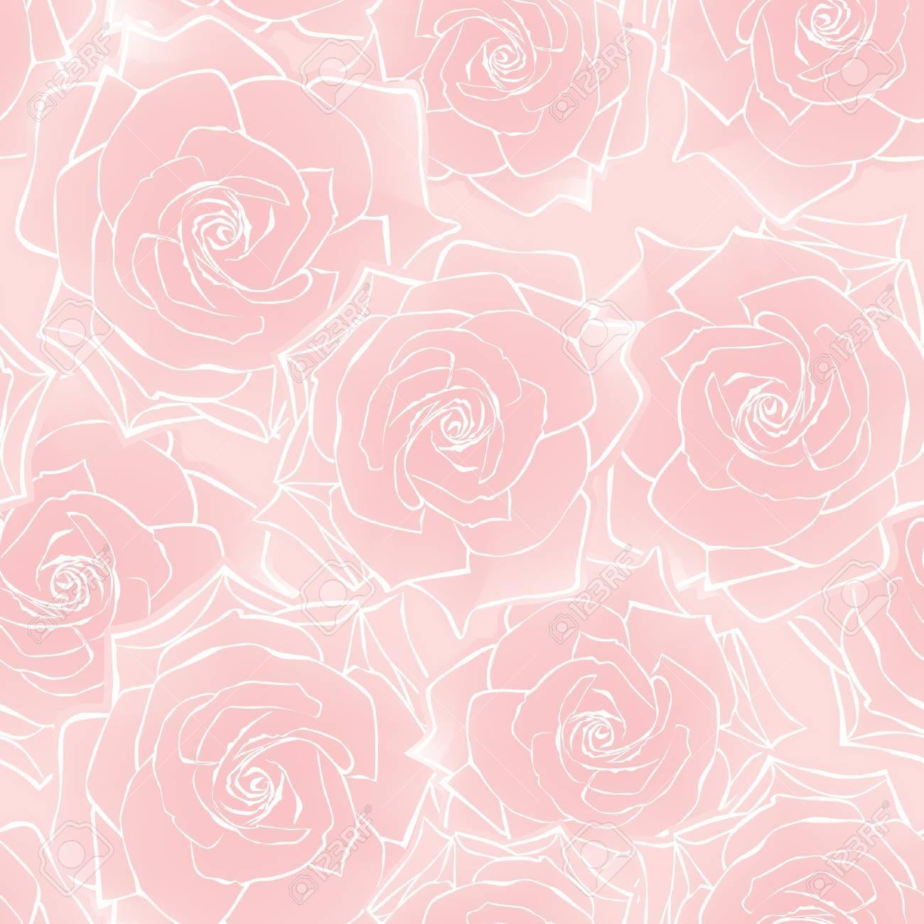 Rose Patron De Fondo Sin Fisuras Con Flores Rosa Ilustracion