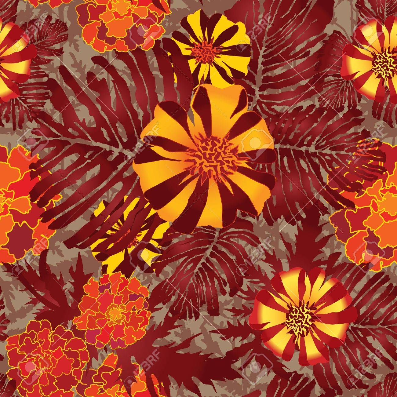 abstract floral seamless background  gentle velvet-ribbon pattern  Floral seamless background with red, yellow and purple flowers  Ornate flower texture Stock Vector - 17715786