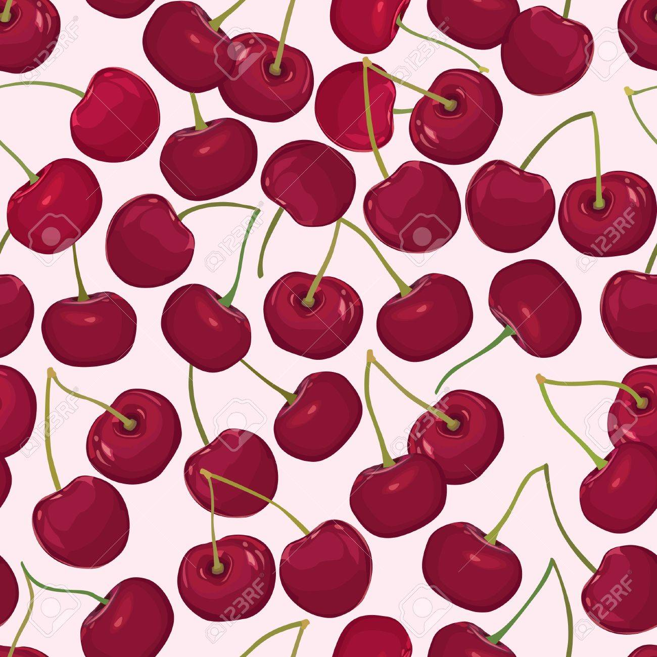 cherry seamless pattern  sweet berry on white background Stock Vector - 18030347