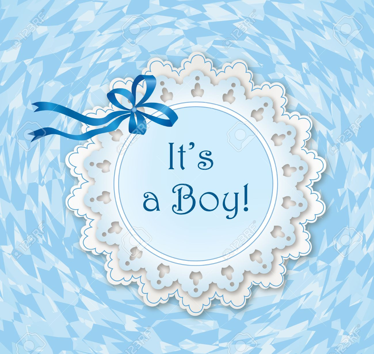 Greeting Card With Bow Ribbon And Frame For Text It S A Boy ...