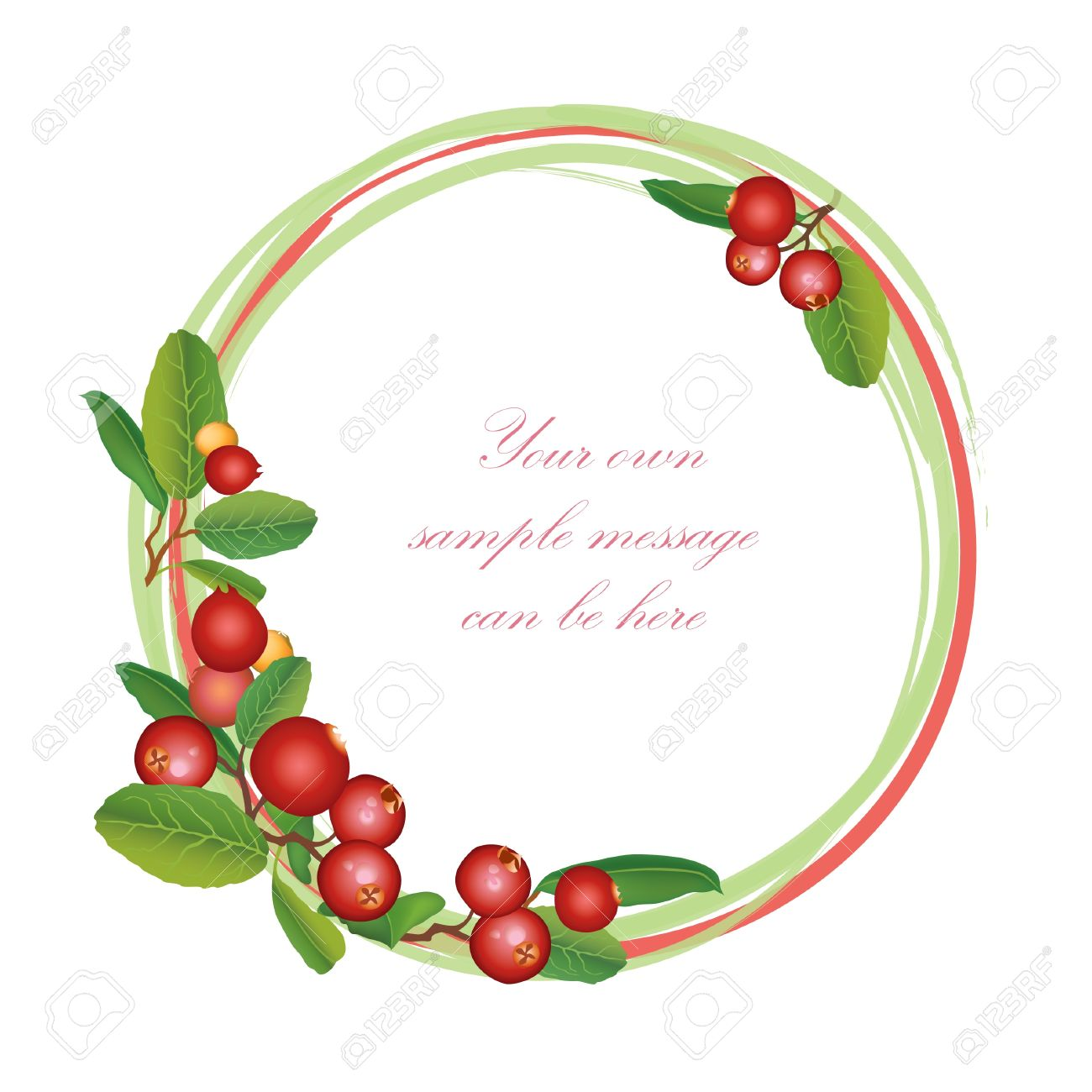 Cranberry frame  Berry round garland  Ripe red cranberries with leaves  Scandinavian card  Cowberries  illustration Stock Vector - 18320742