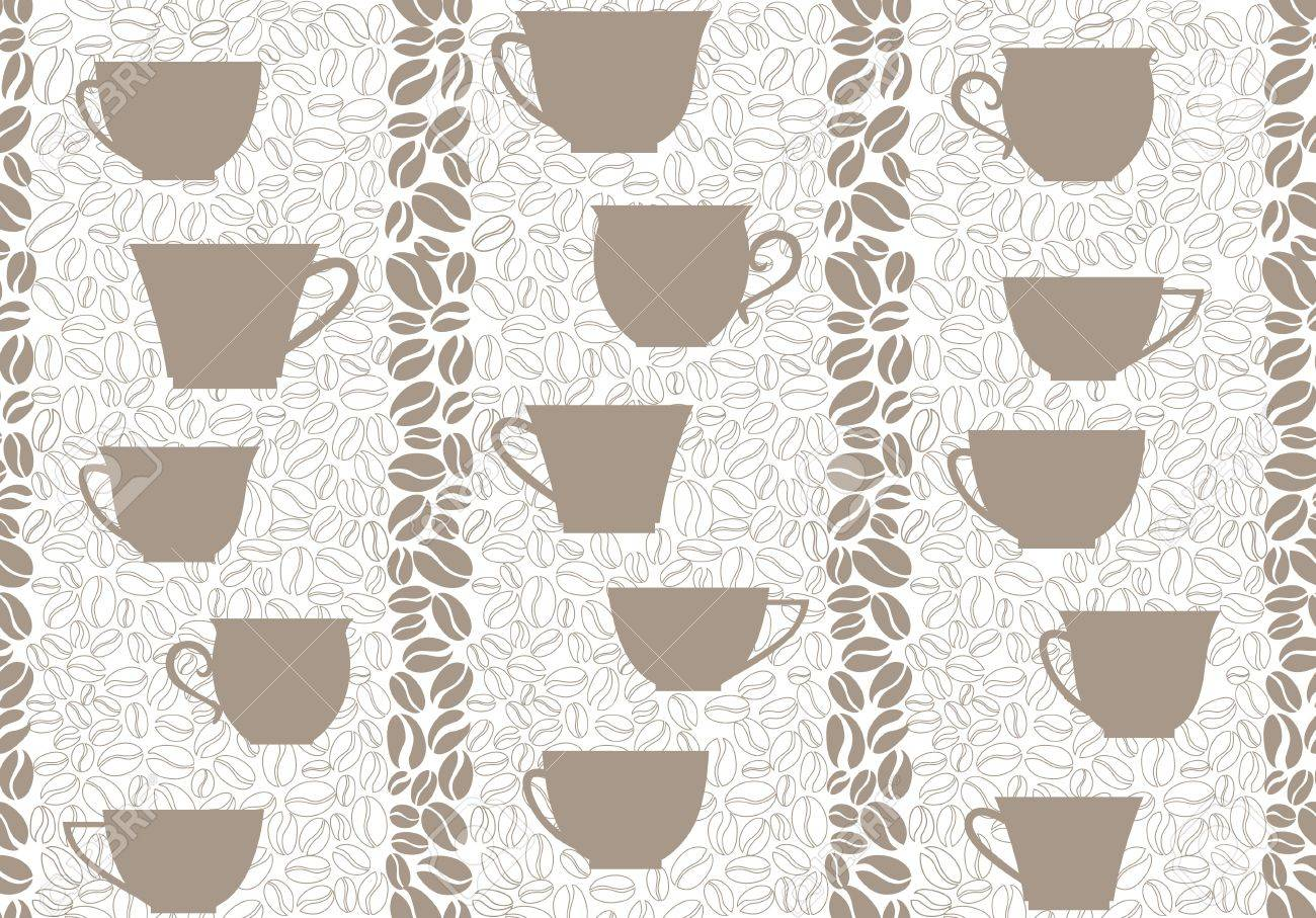 Coffee seamless background  Coffee cups and beans seamless pattern Stock Vector - 18393873