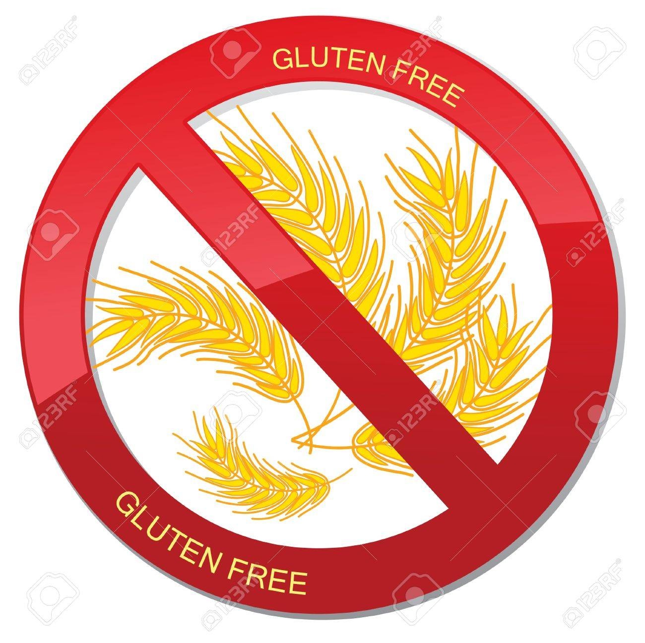 No bread - gluten free icon  realistic illustration  Fat danger sign Stock Vector - 18394399