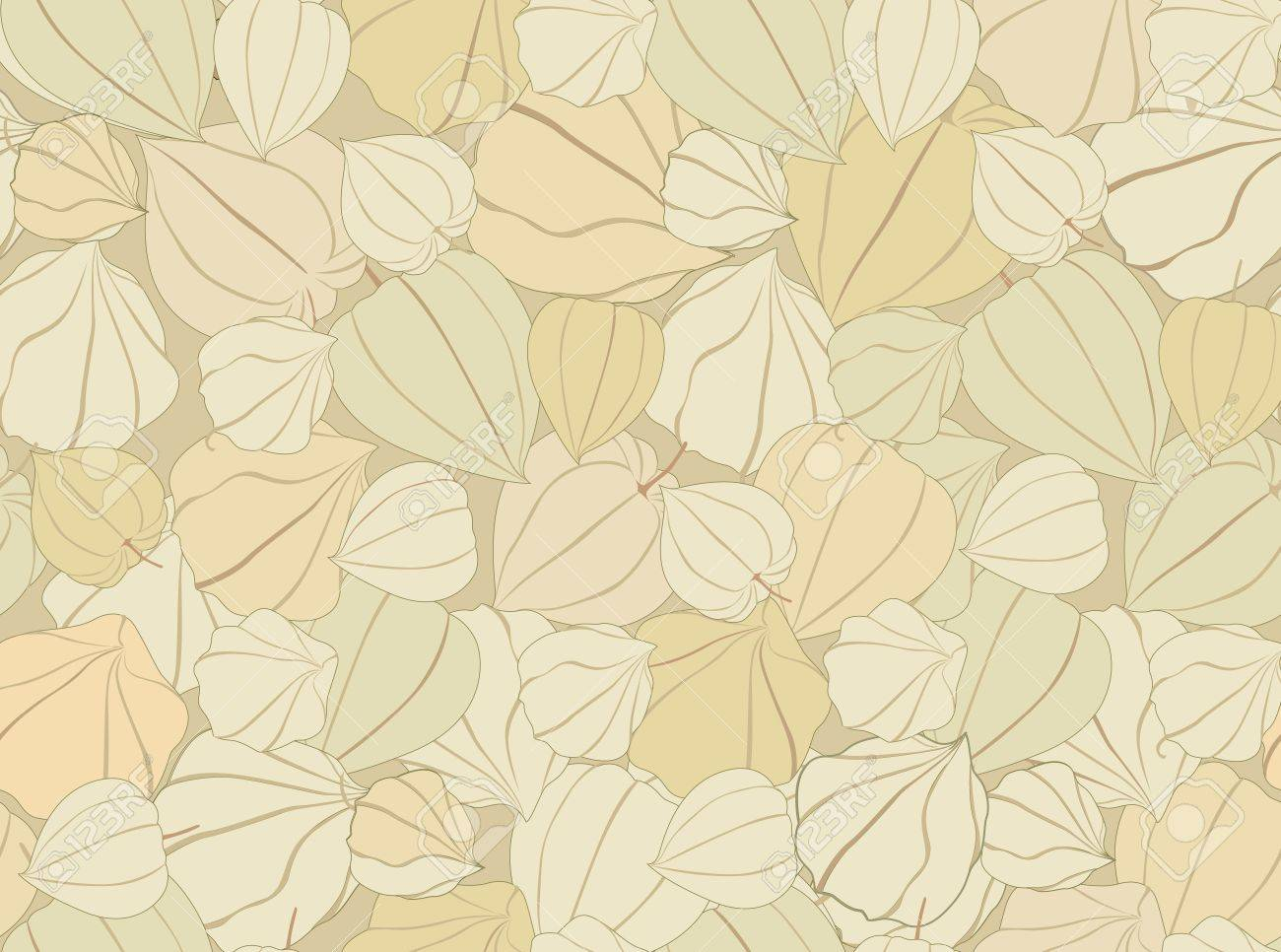 floral seamless pattern with gentle flowers  Autumn background with winter cherry Stock Vector - 18394402