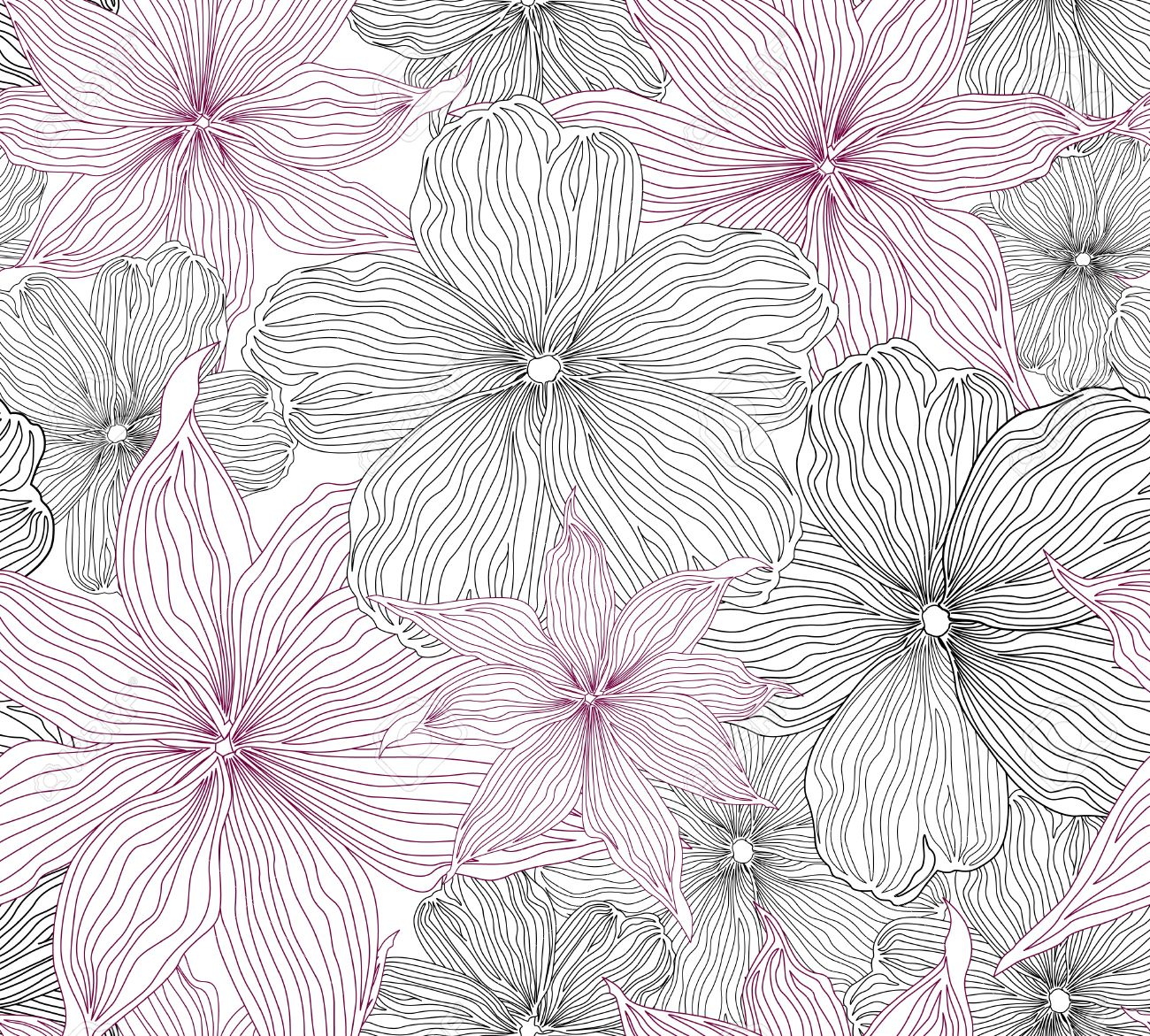 Black and white seamless background with white and pink flowers black and white seamless background with white and pink flowers graphic stock vector 18524412 dhlflorist Choice Image
