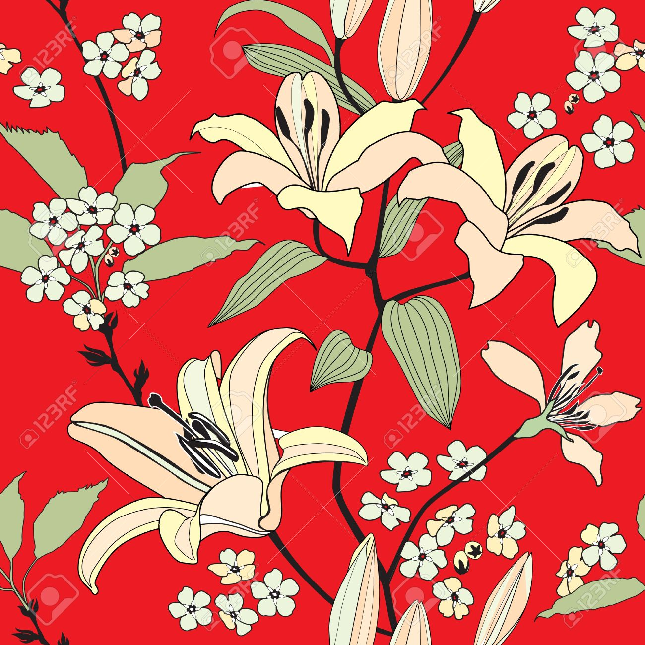 Flower Lily Background Red Floral Wallpaper Flourish Pattern