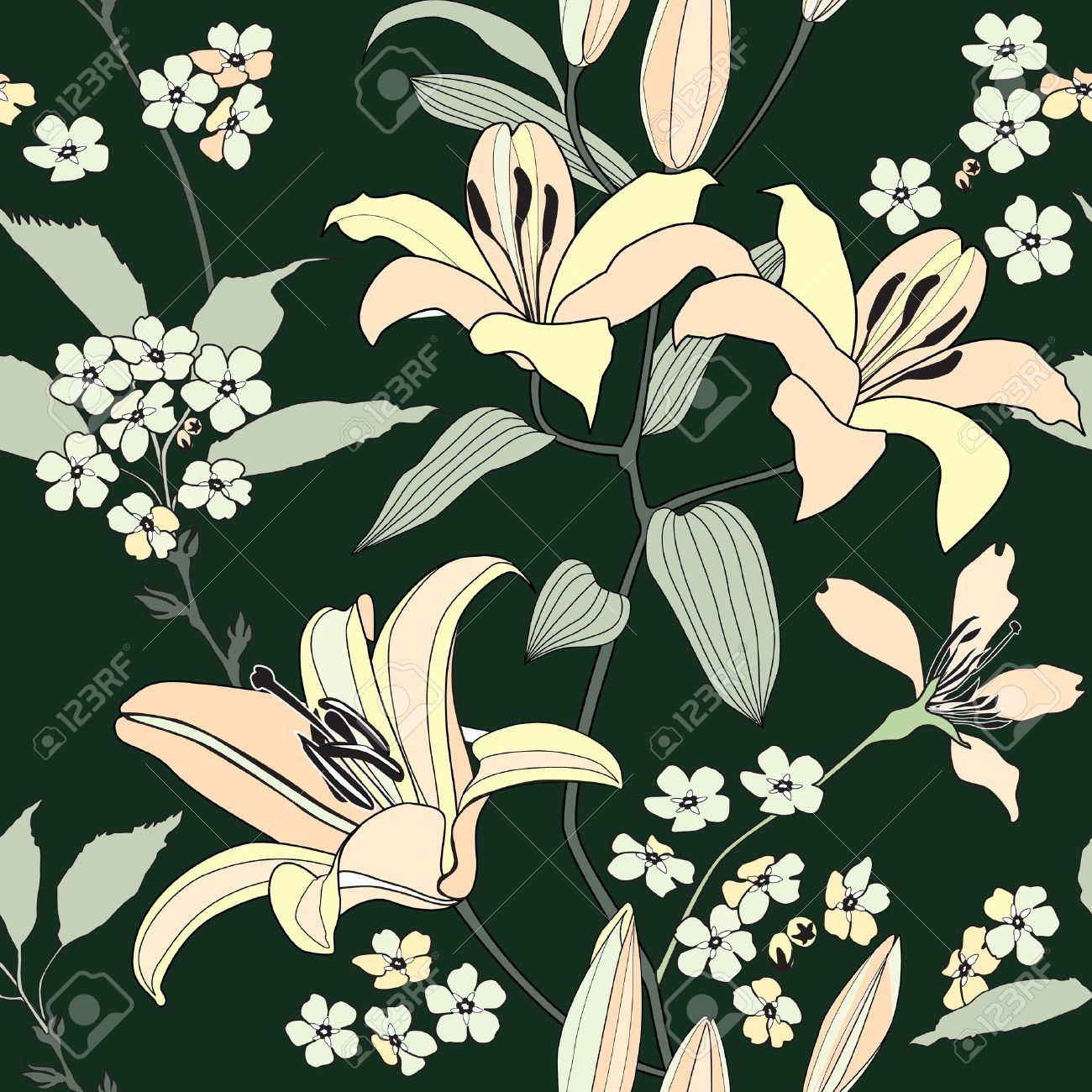 floral seamless pattern with gentle flowers lily   Flourish seamless background Stock Vector - 19346557