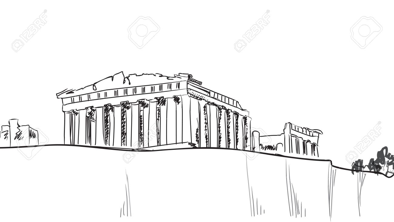 Acropolis Hill in Athens  Hand drawn landmark - Greece Parthenon sketch Stock Vector - 21291483