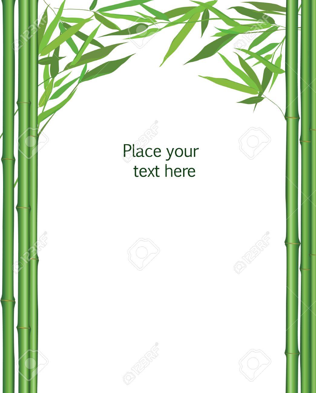 Bambus-Rahmen Mit Blättern Dekor Vektor-Illustration Isoliert Auf ...