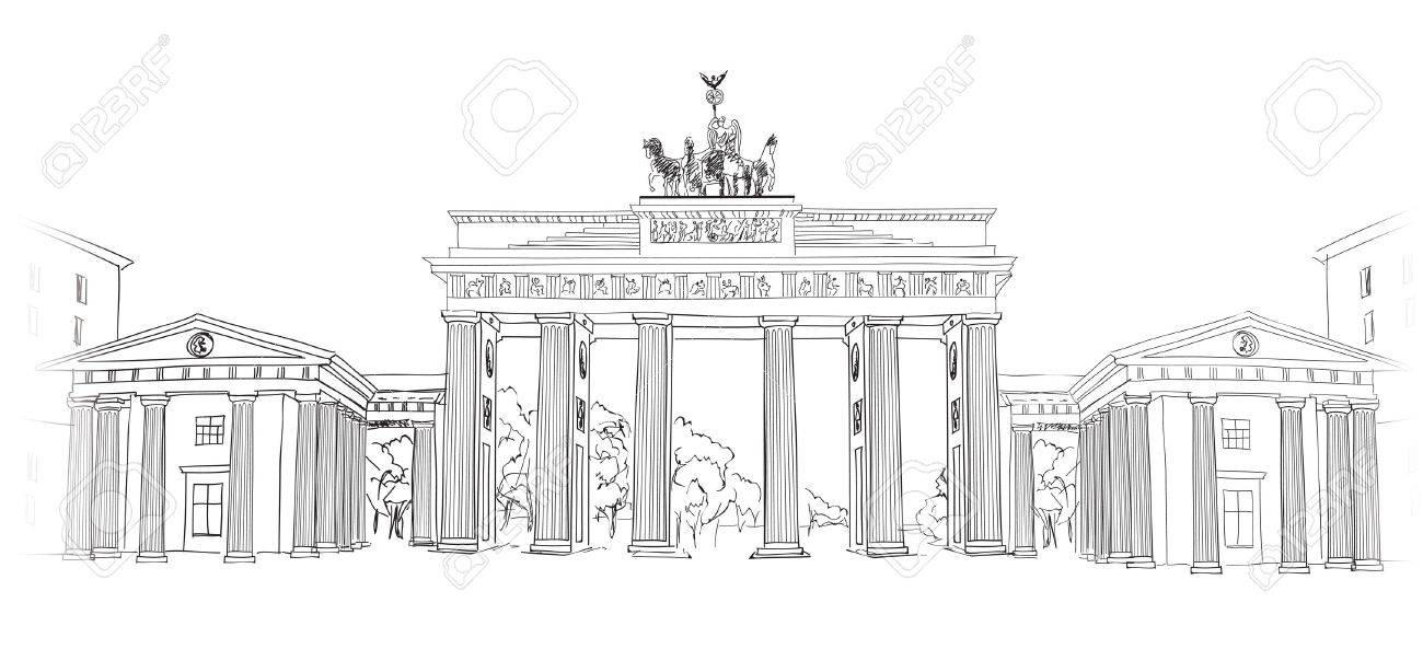 The Brandenburg Gate In Berlin Hand Drawn Pencil Sketch Vector Royalty Free Cliparts Vectors And Stock Illustration Image 21173634