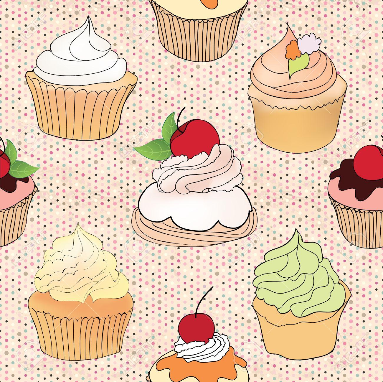 Kitchen wallpaper retro - Wallpaper Kitchen Pattern Pastry Seamless Retro Pattern Muffin Illustration In Retro Style Over Polka Dot
