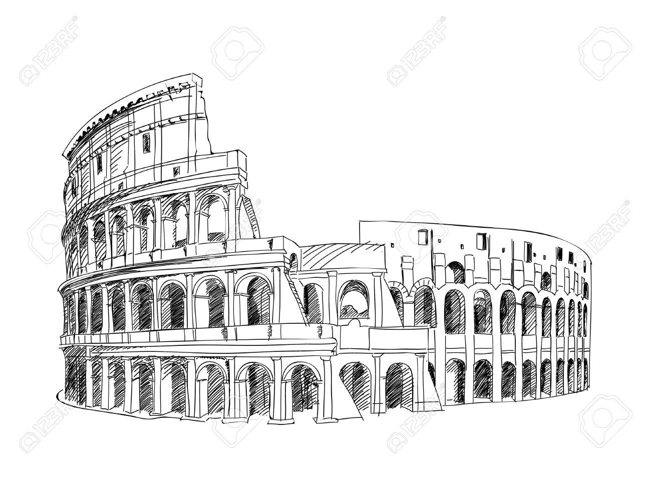 Coliseo En Roma Italia Señal De Coliseum Dibujado A Mano