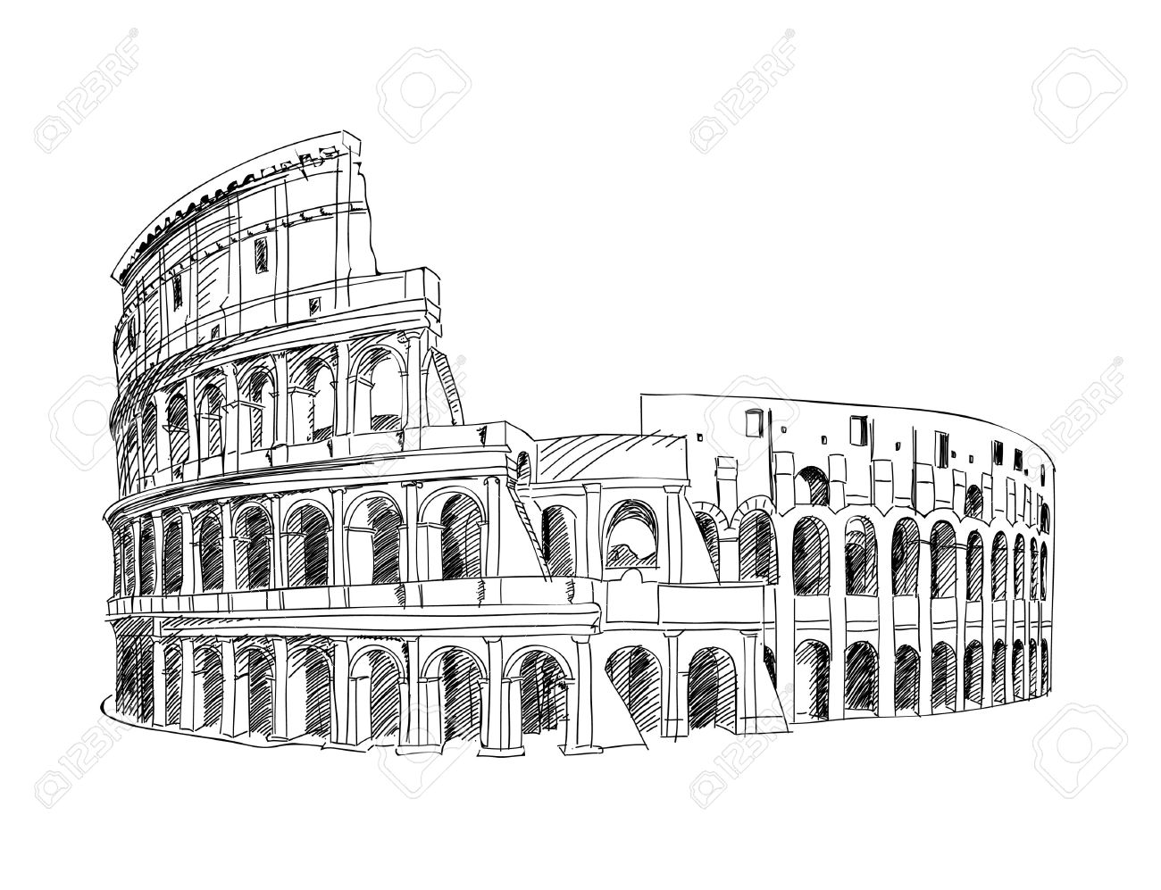 Colosseum in Rome, Italy  Landmark of Coliseum, hand drawn illustration  Rome city landscape Stock Vector - 20980842