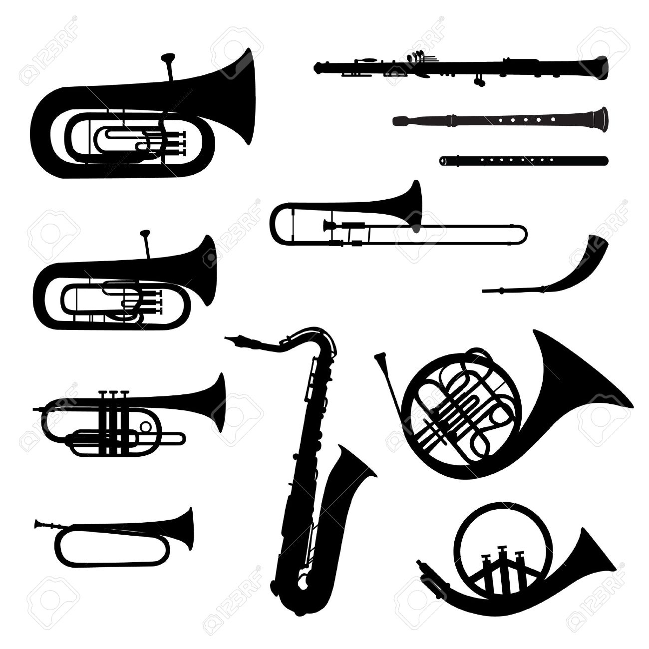 Music instruments vector set Musical instrument silhouette on white background - 21078835