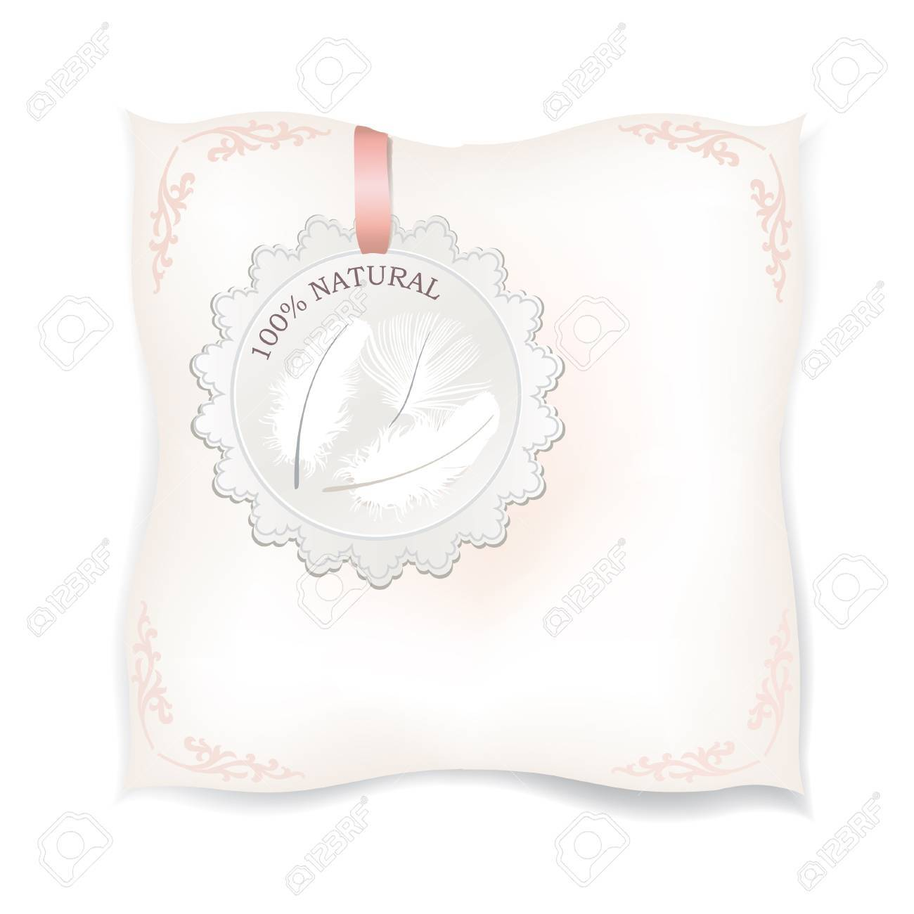 White pillow isolated  Natural down label  Natural product label  Feather Vector illustration Stock Vector - 20912589