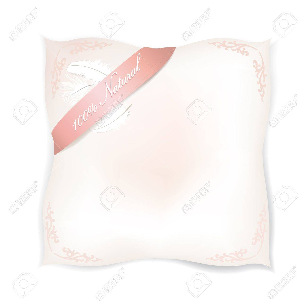 White pillow isolated  Natural product label  Feather Vector illustration Stock Vector - 20912590