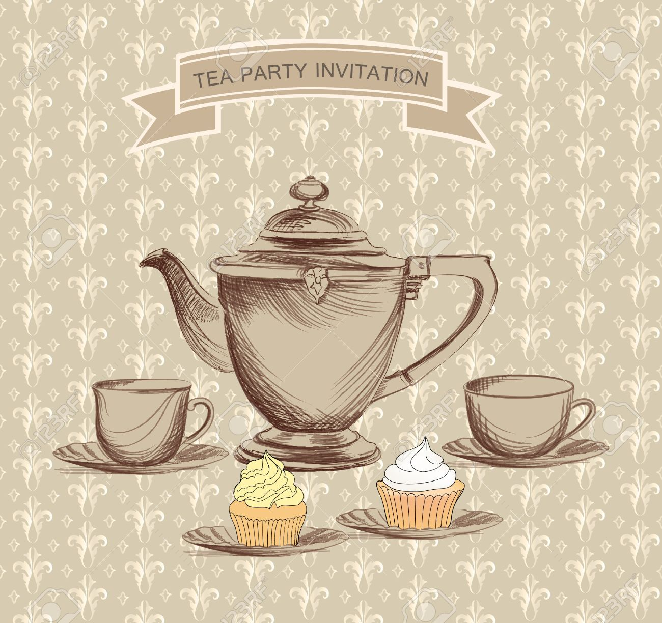Elegant tea party invitation template with teacups cartoon vector - Tea Party Tea Time Retro Label Tea Cup And Pot Label In Vintage Style