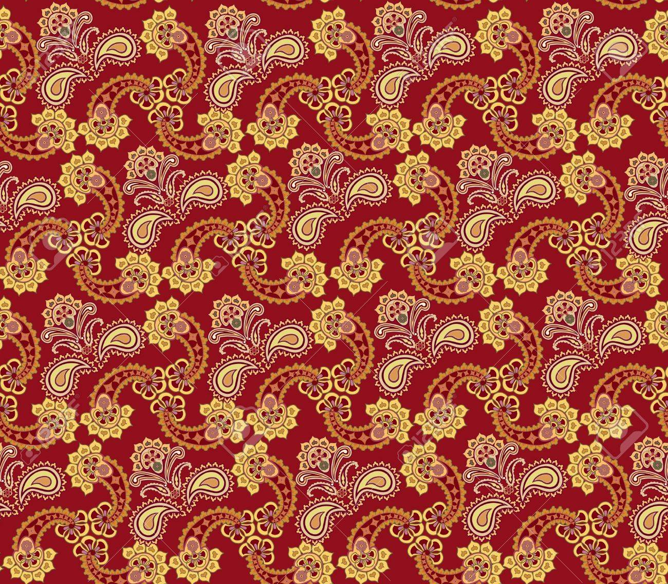 Abstract Floral Seamless Ornamental Pattern Oriental Flower