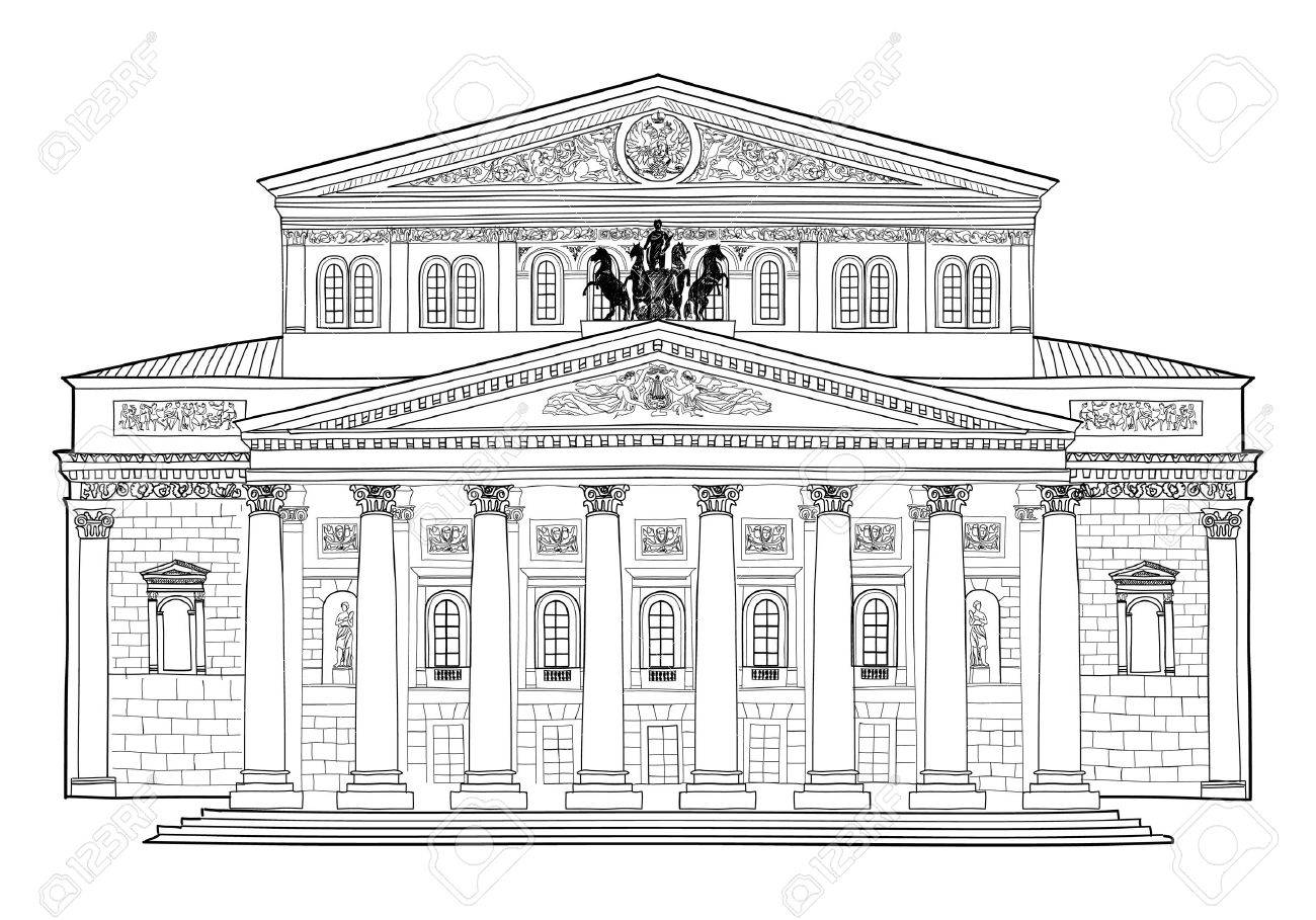 architectural drawings of famous buildings.  Drawings Bolshoi Theatre Moscow Russia Famous Building Isolated On White  Background Hand Drawing Vector Illustration With Architectural Drawings Of Buildings