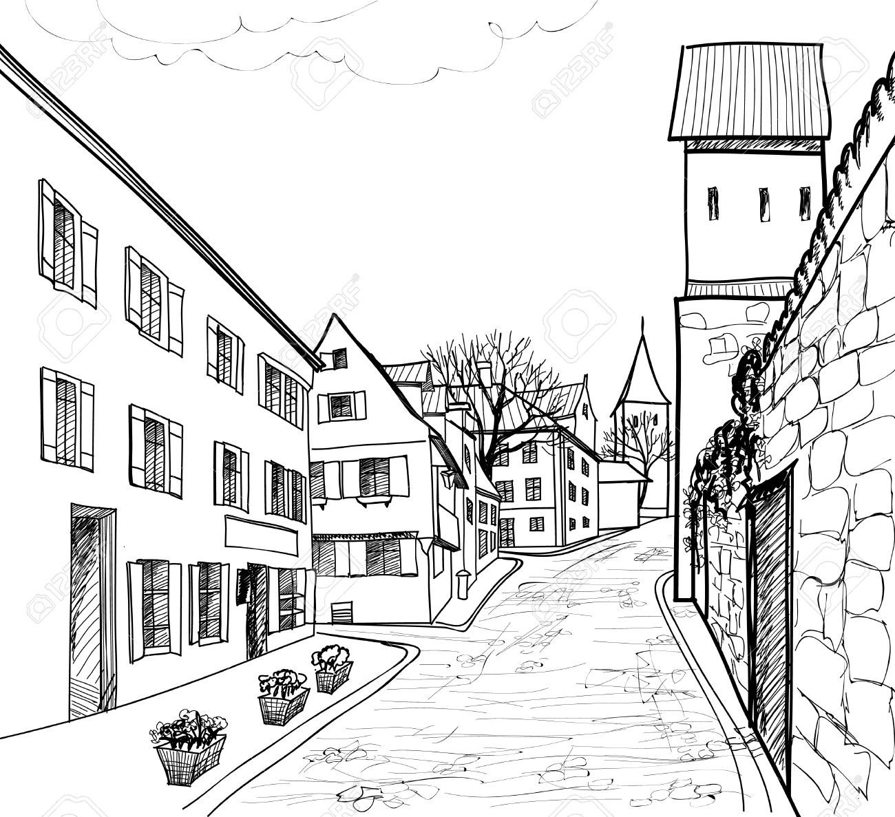 Pedestrian street in the old european city with tower on the background  Historic city street  Hand drawn sketch  Vector illustration Stock Vector - 21604113