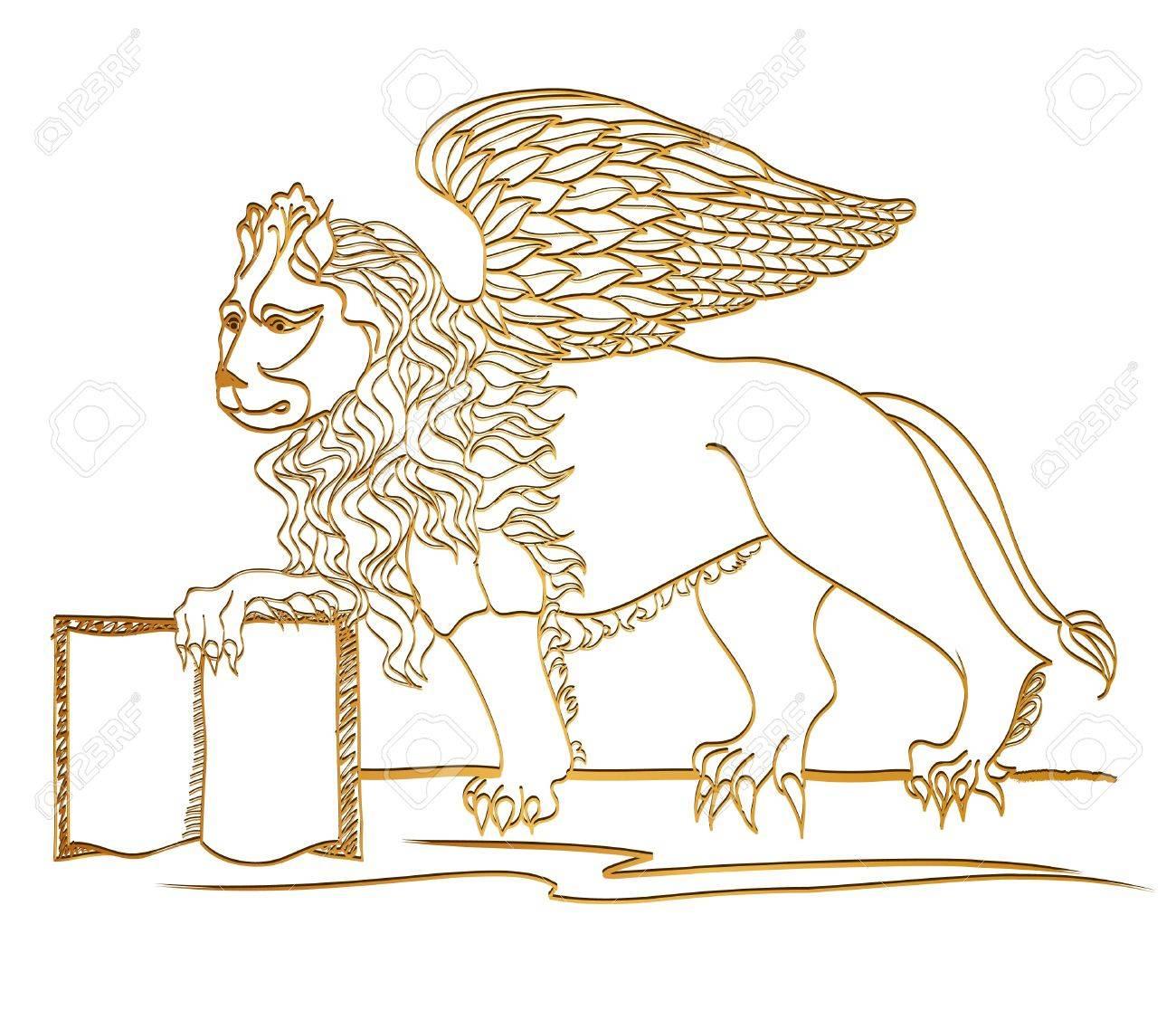 Winged Lion in  , golden sculpture, St  Mark symbol, Venice Stock Vector - 21321346