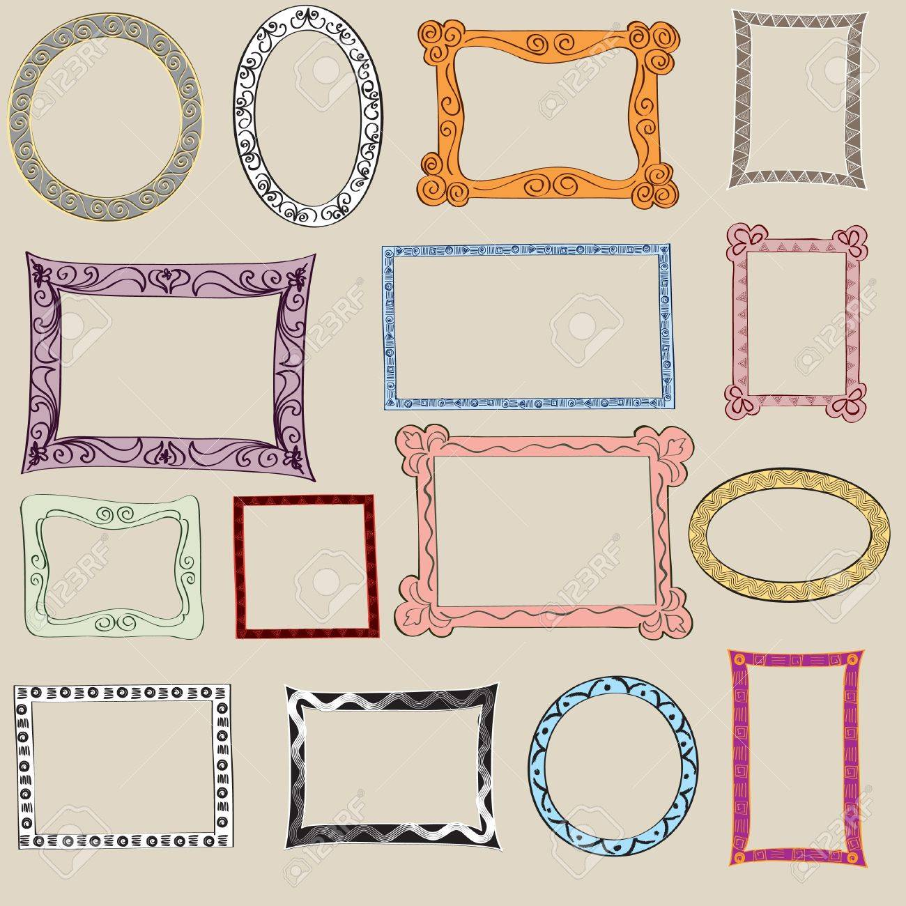 Set Of Cute Frame Victorian Ornaments Photo Frames In Vector Royalty ...