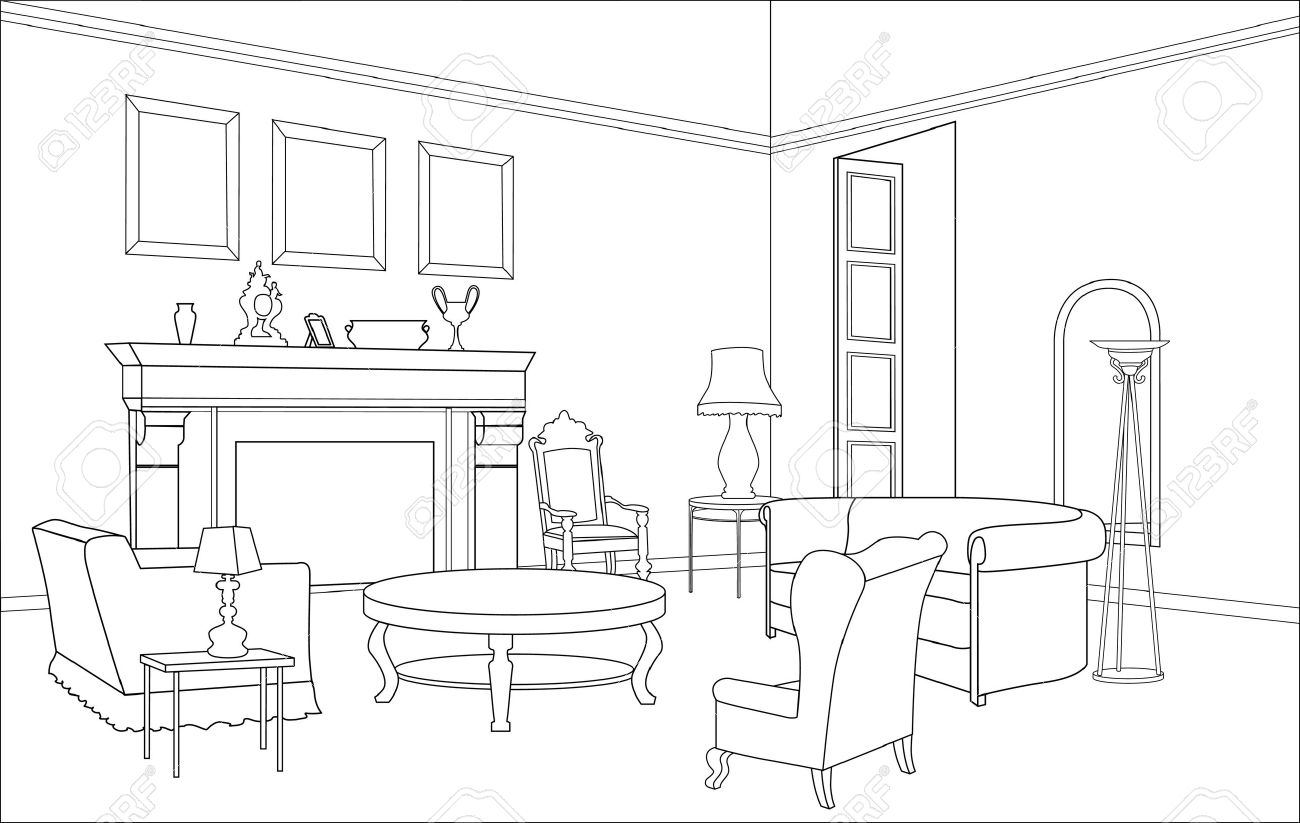 Drawing Room Clipart Furniture Drawing-room