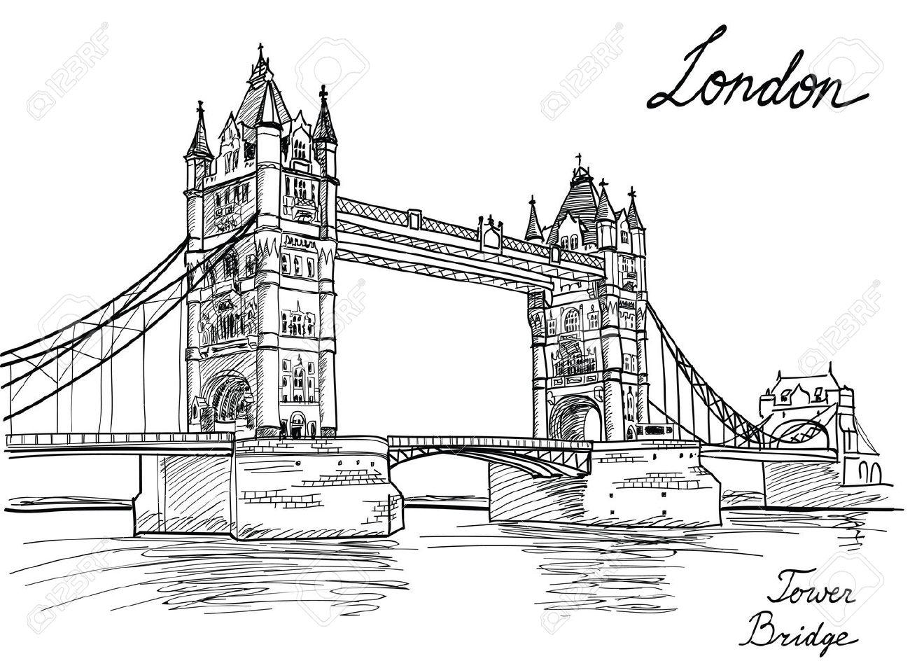 Tower Bridge London England Uk Hand Drawn Illustration Royalty