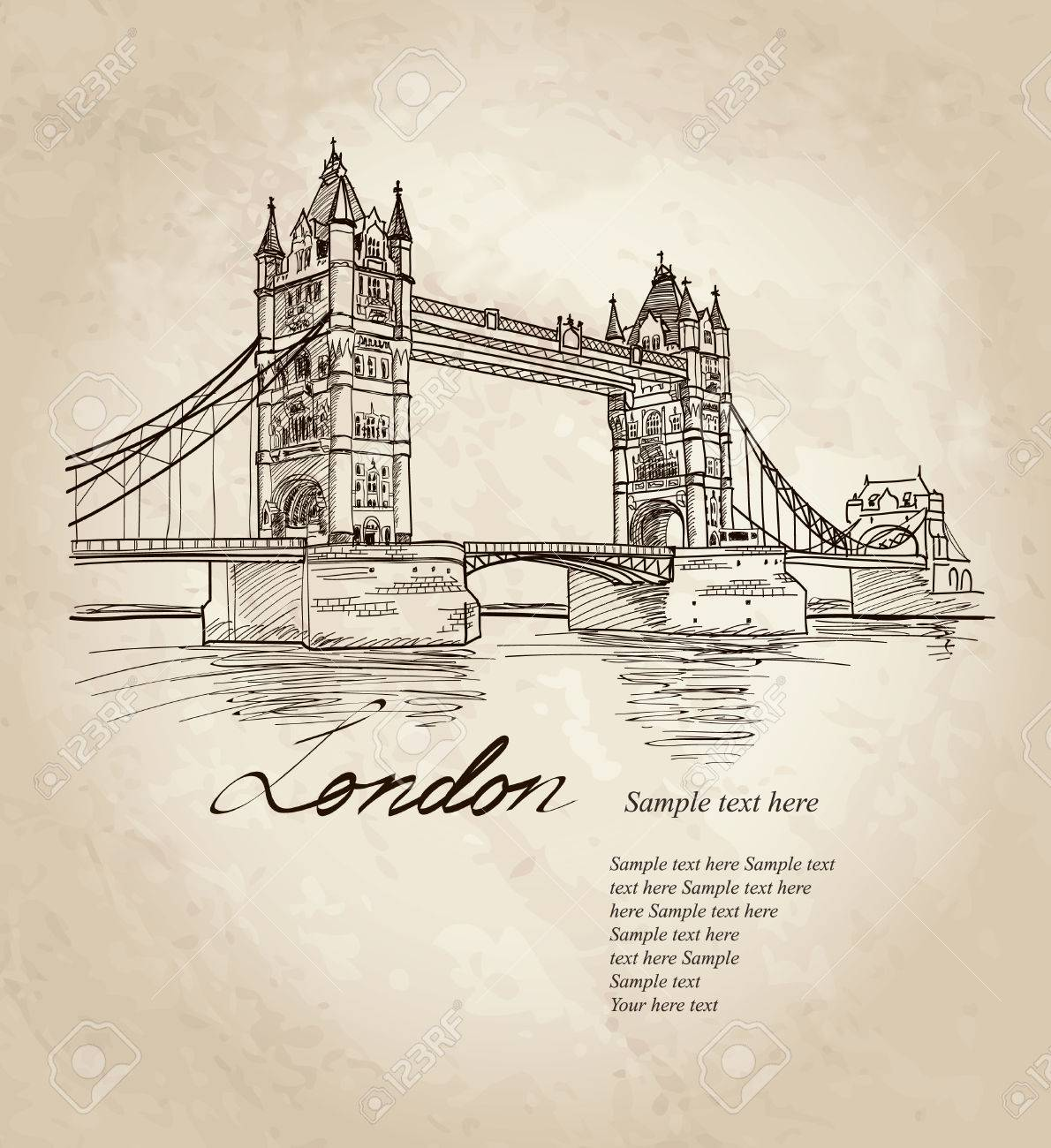 Tower Bridge Londres Angleterre Royaume Uni En Europe Vector Illustration Doodle Dessin à La Main