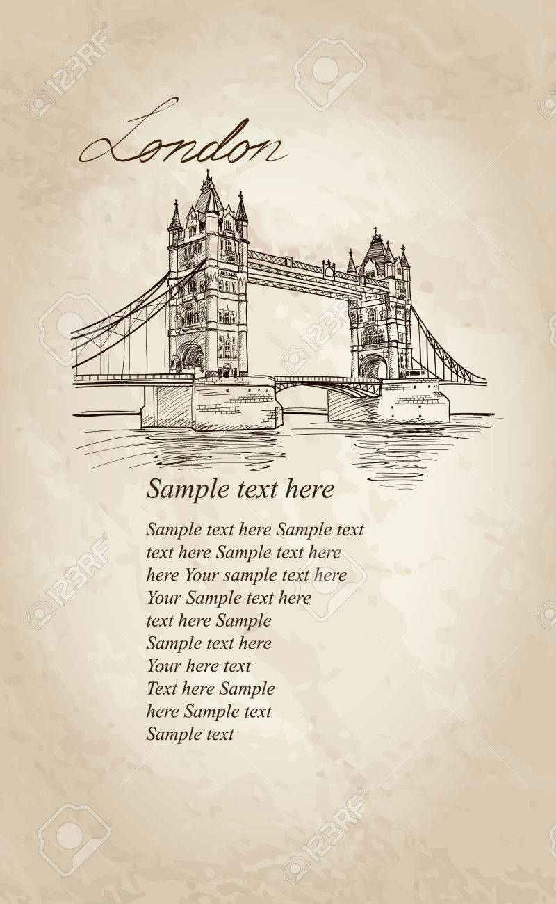 Tower Bridge, London, England, UK, Europe  Vector doodle illustration  Hand drawing Stock Vector - 22421247