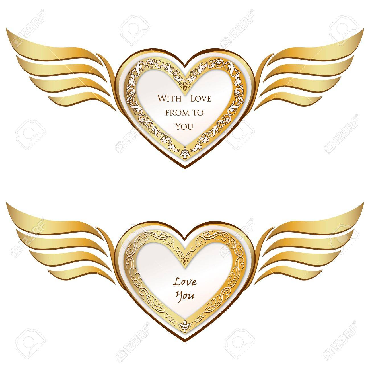 Heart with wings set  Valentine s day love symbols Stock Vector - 22796601
