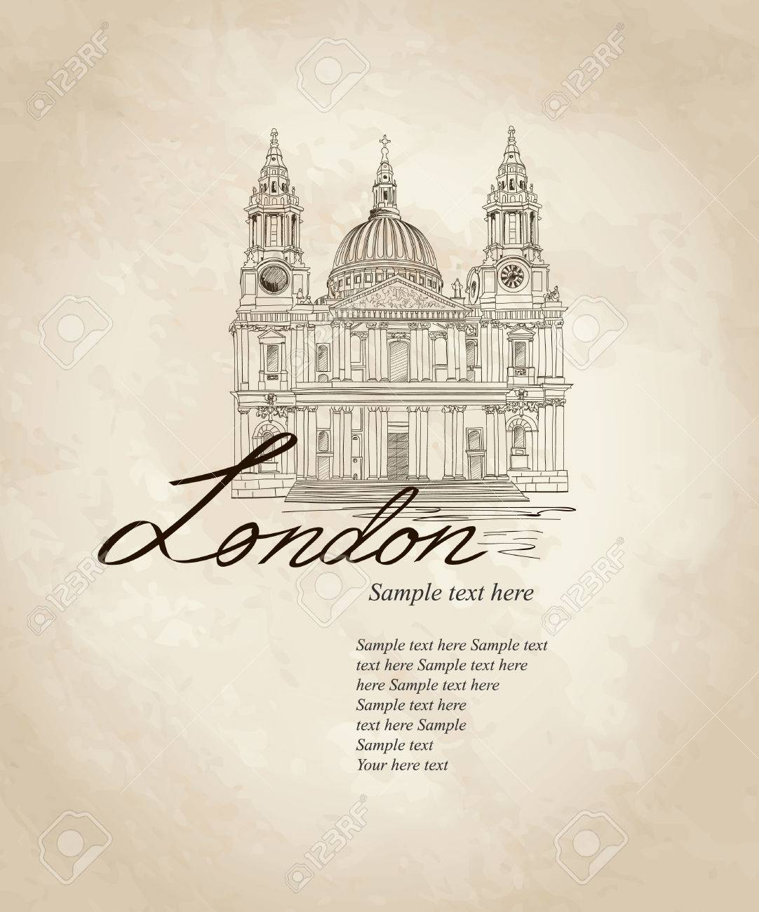 St  Paul Cathedral, London, UK  Hand Drawn Illustration  Vector vintage background Stock Vector - 22796499