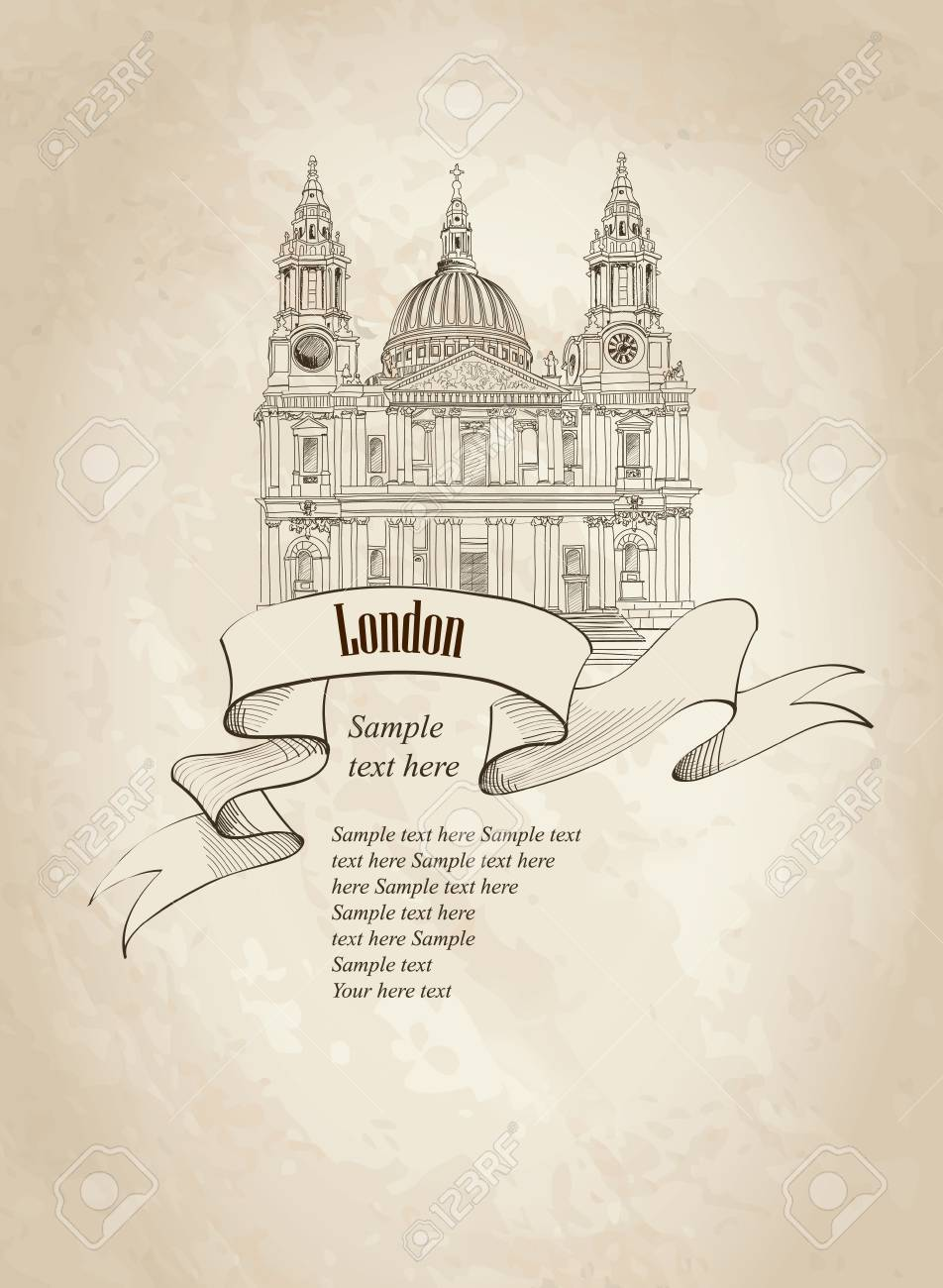 St  Paul Cathedral, London, UK  Hand Drawn Illustration  Vector vintage background Stock Vector - 22796509