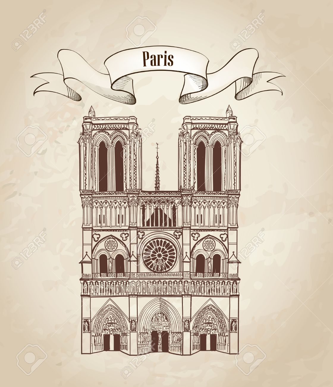 Notre Dame de Paris cathedral, France  Hand drawing vector illustration isolated on white background Stock Vector - 23320180
