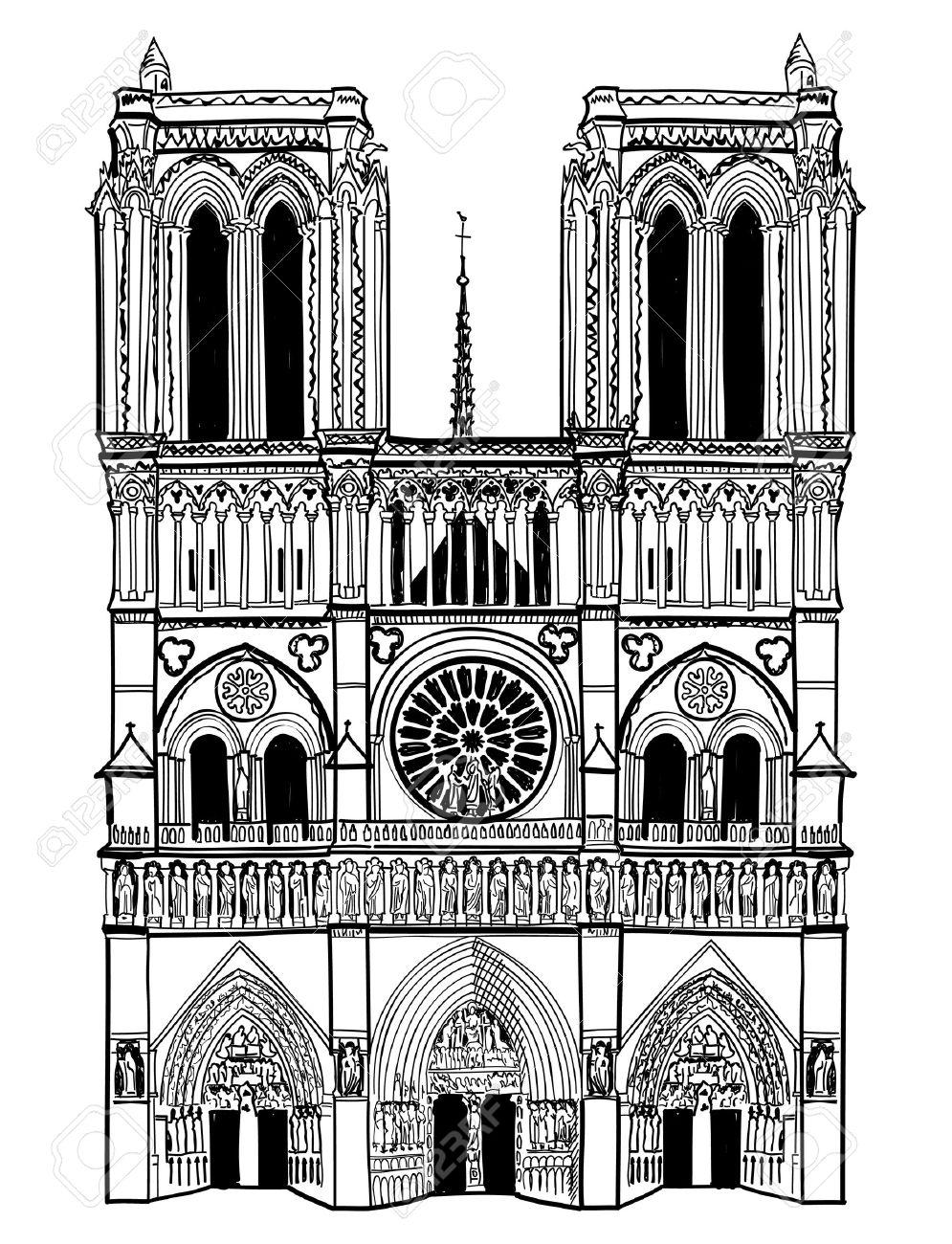 Notre Dame De Paris Disegno.Notre Dame De Paris Cathedral France Hand Drawing Vector