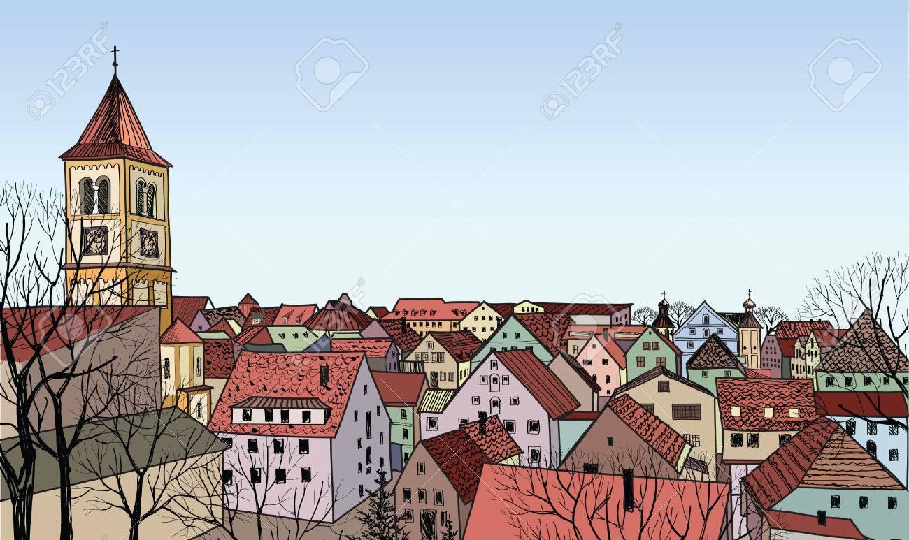 歴史的な街の通り都市現場壁紙の背景にタワーと古いヨーロッパの都市の