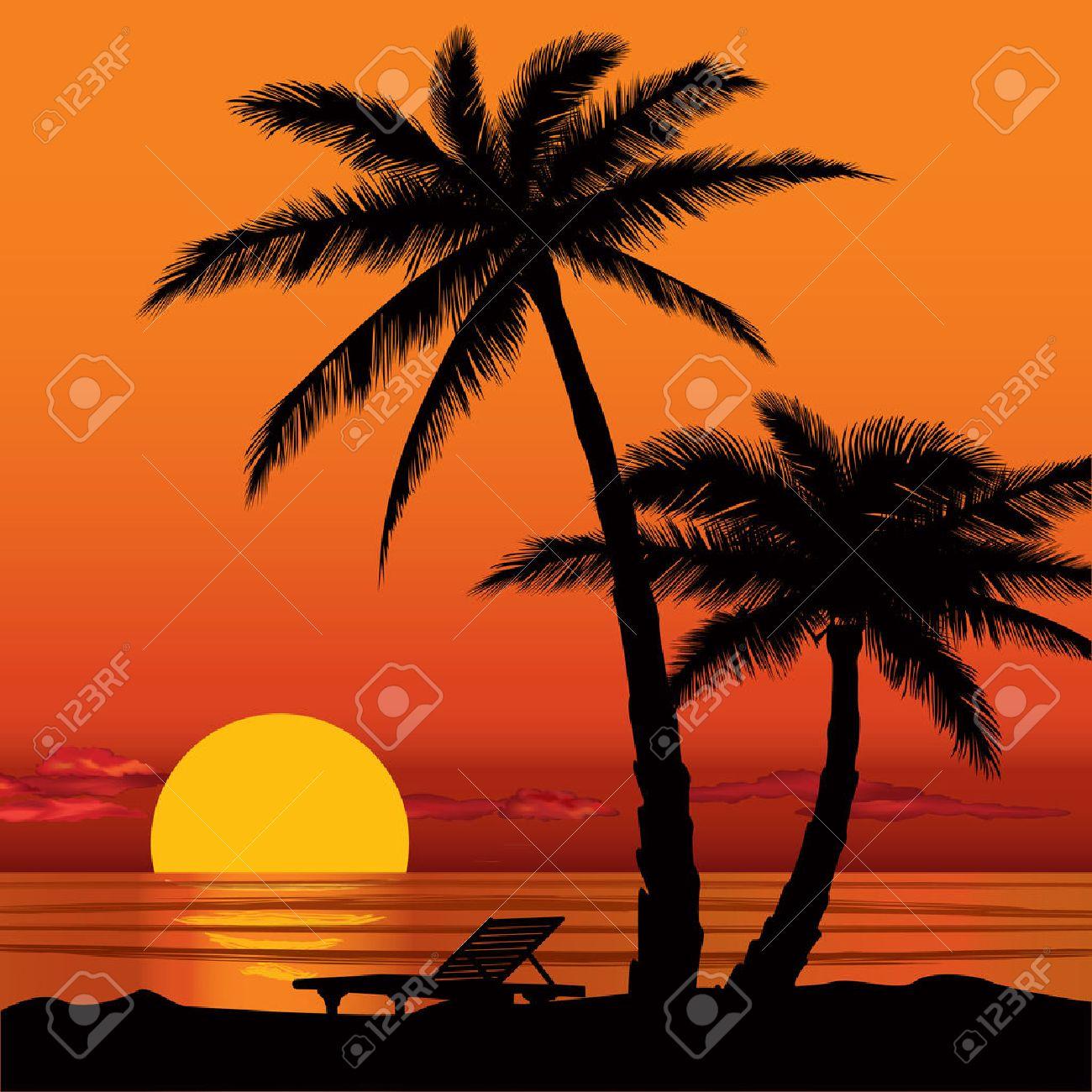 Summer Holidays Background Sunset View Poster Vector Beach