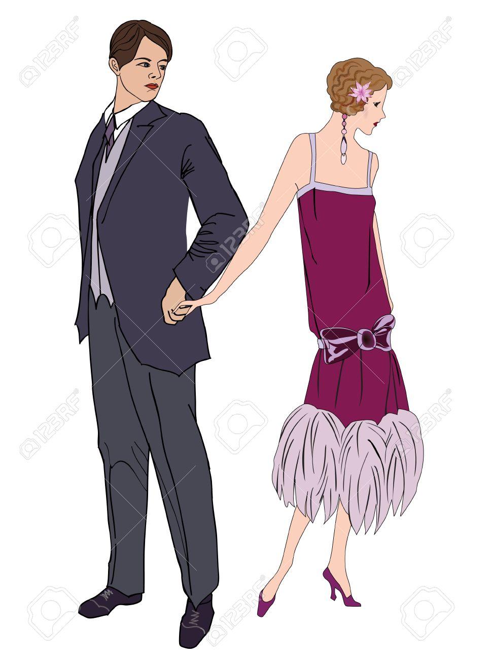 Pareja En La Fiesta. Hombre Y Mujer En Vestido De Cóctel En El ...