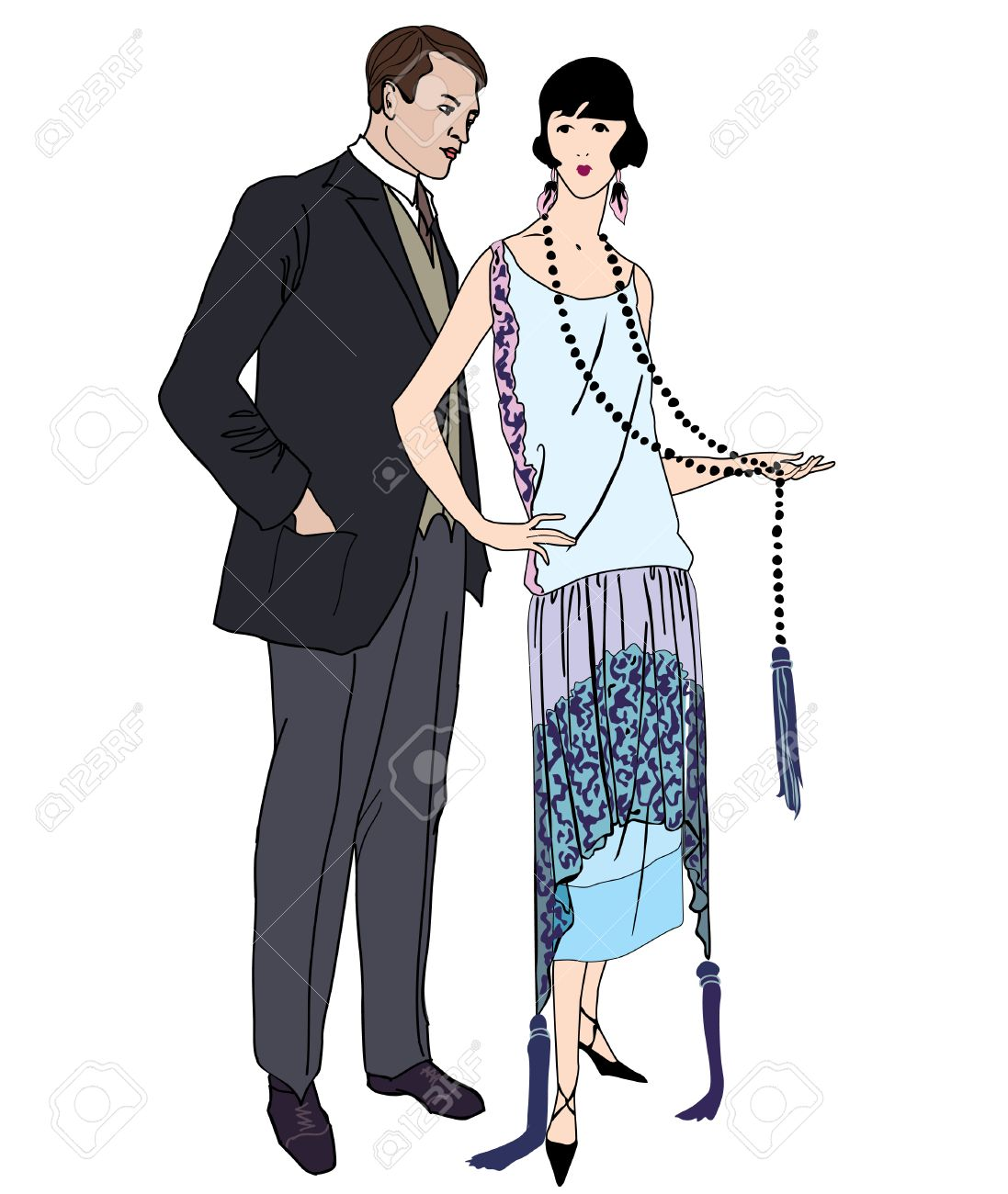 Couple On Party. Man And Woman In Cocktail Dress In Vintage Style ...