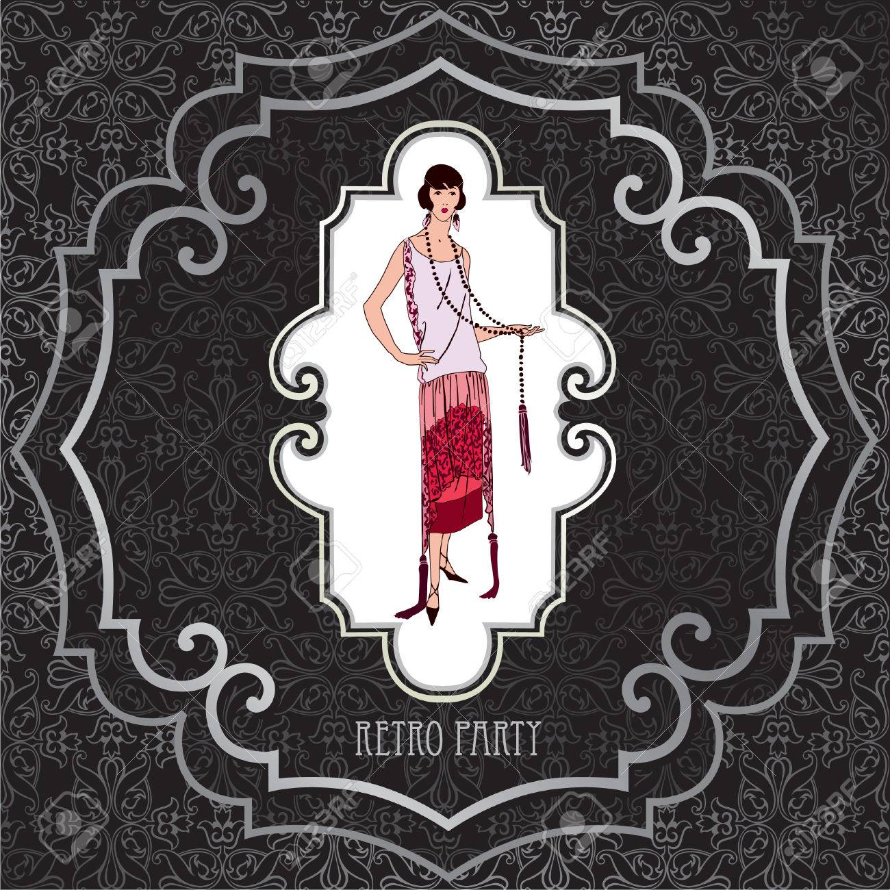 Retro Party Invitation Design. Flapper Girl Over Vintage ...