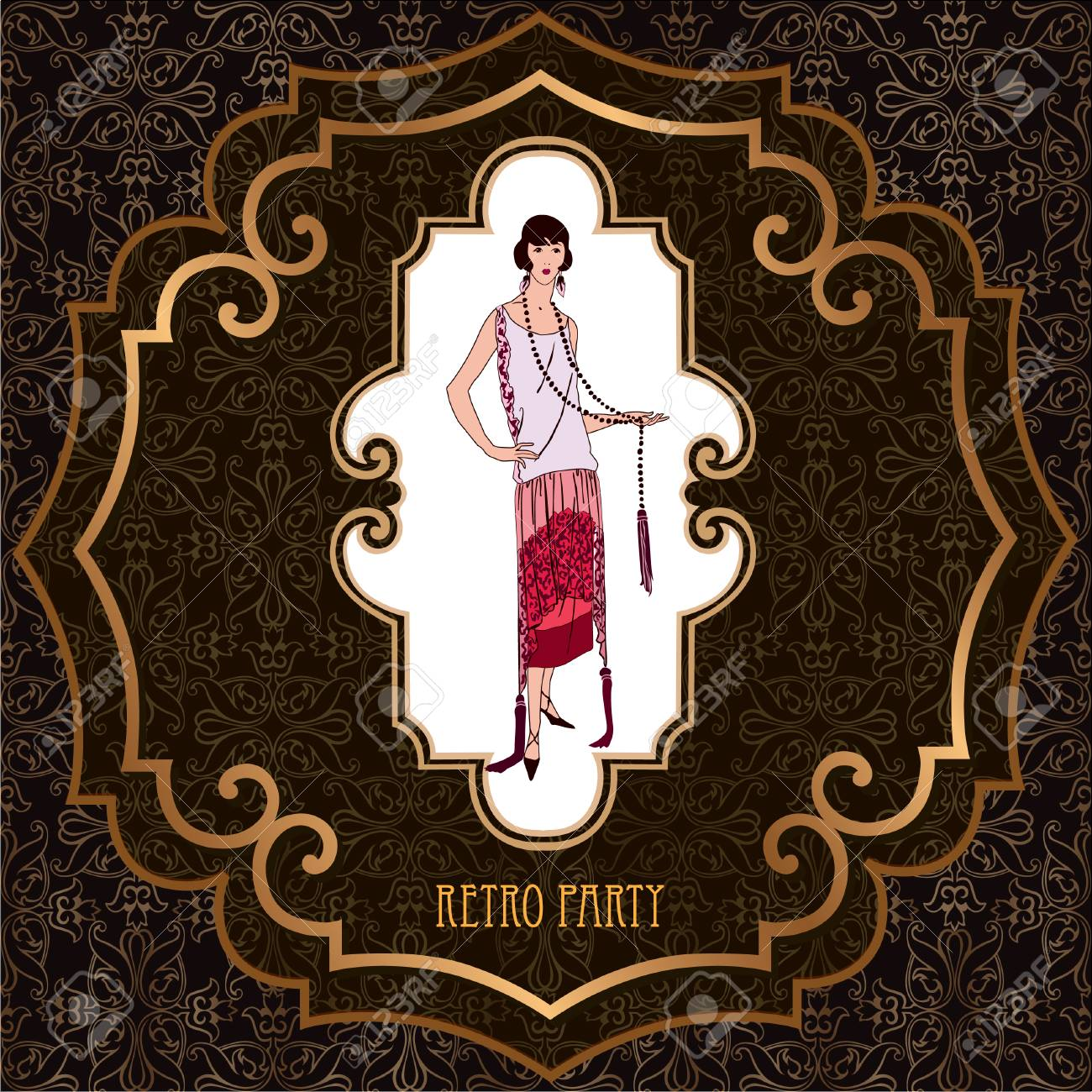 Retro Party Invitation Design Flapper Girl Over Vintage Background