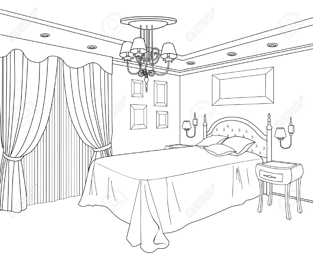 Bedroom drawing for kids - Bedroom Furniture Editable Vector Illustration Of An Outline Sketch Of A Interior Graphical Hand Bedroom