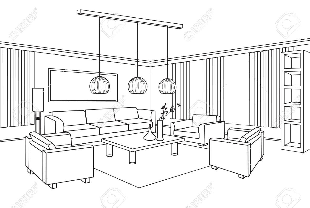 Interior outline sketch furniture blueprint royalty free cliparts interior outline sketch furniture blueprint stock vector 28961338 malvernweather Choice Image