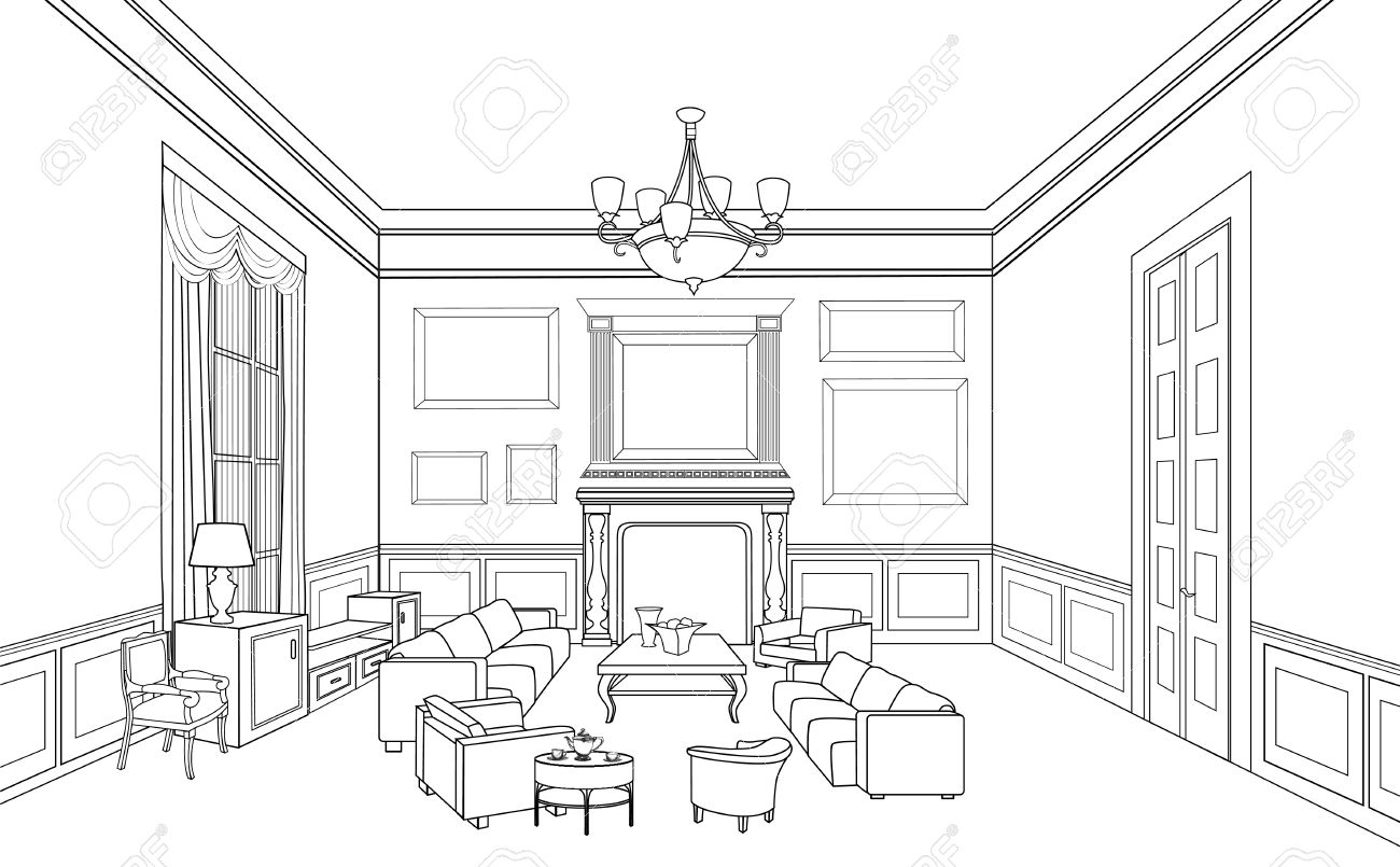 Drawingroom Editable Vector Illustration Of An Outline Sketch