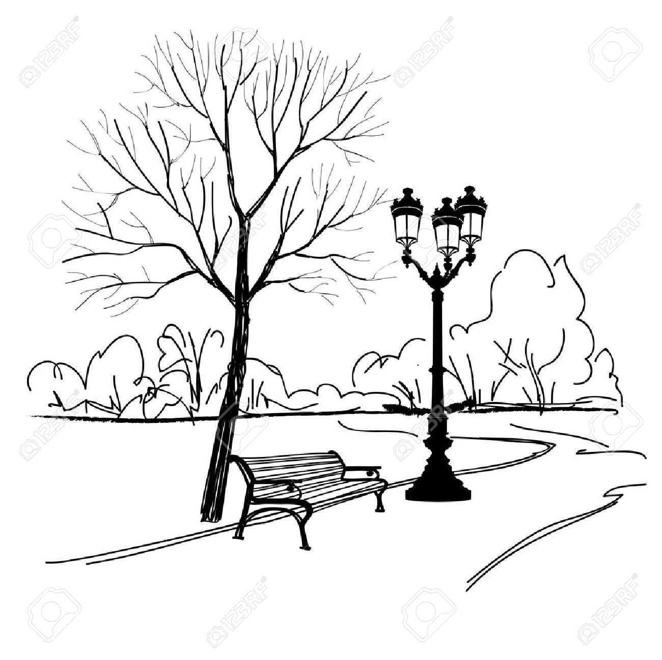 Bench in park with tree and streetlamp. - 31201740