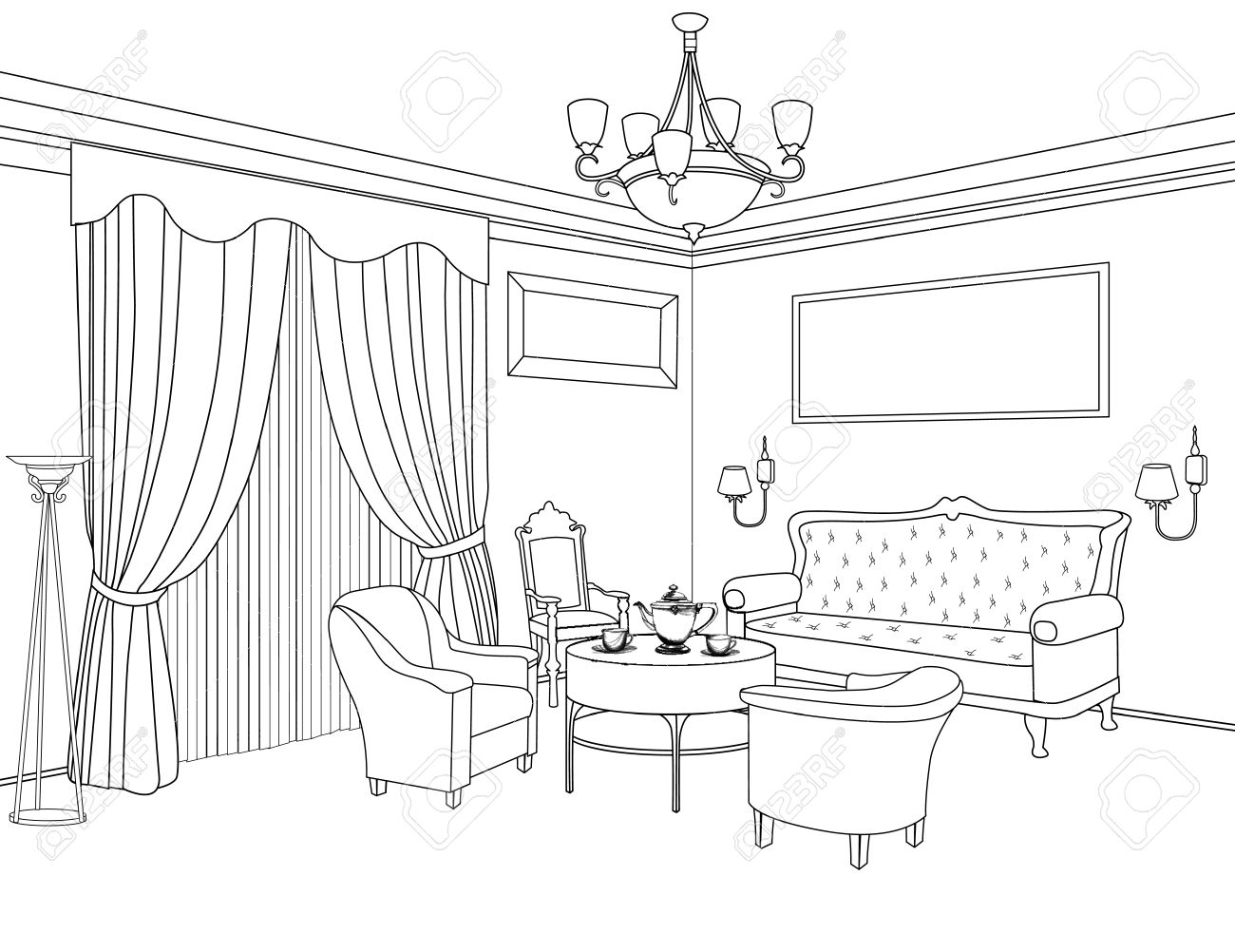 Interior Outline Sketch. Furniture Blueprint. Architectural Design. Living  Room Stock Vector   33560763