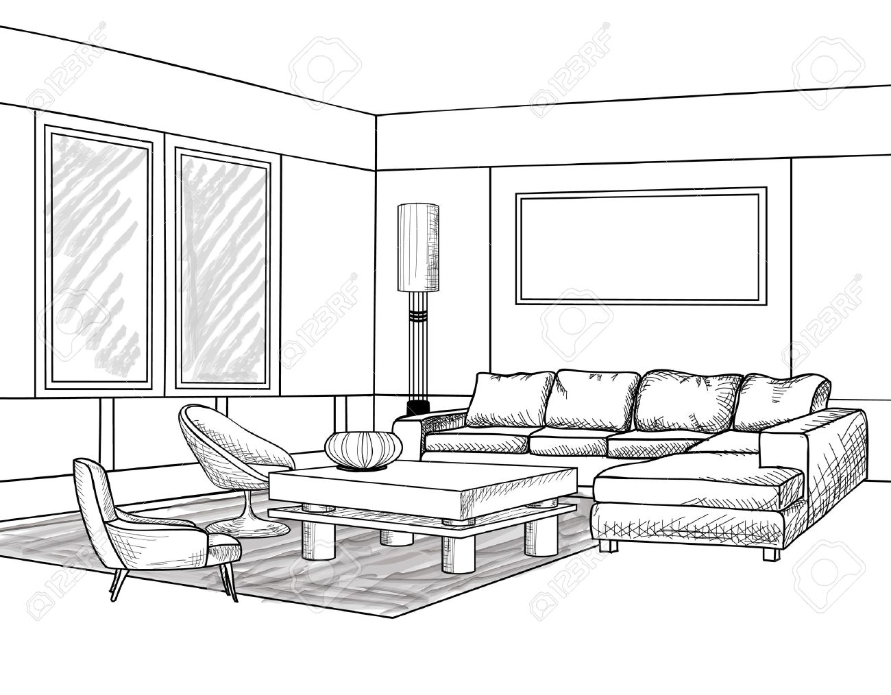 Interior outline sketch furniture blueprint royalty free cliparts furniture blueprint stock vector 34435652 malvernweather Image collections