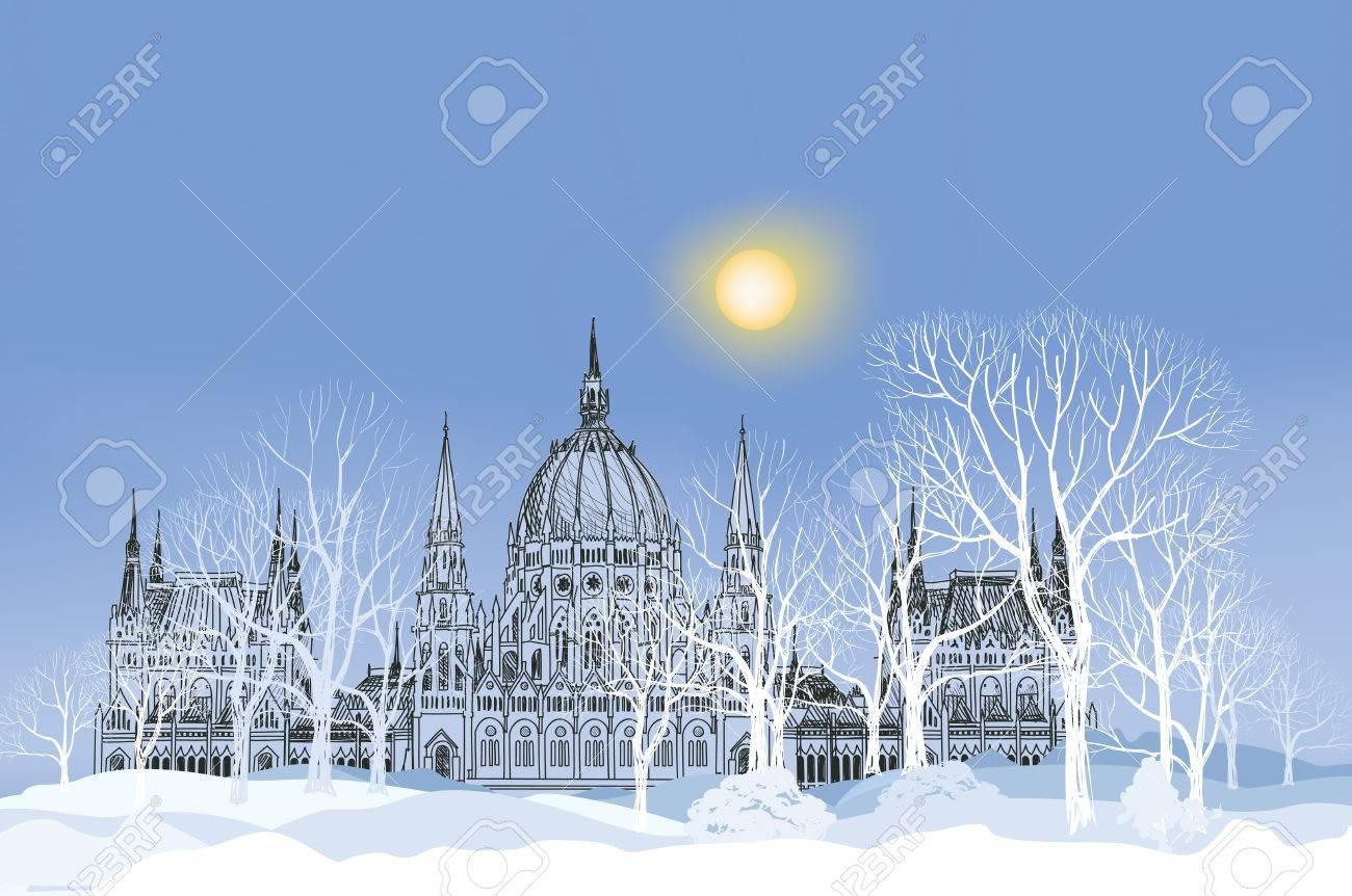 Winterlandschaft. Park Gasse Im Schnee Mit Schloss Und Bäume Auf Den ...